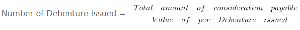 Calculation of number of debentures issued by the company