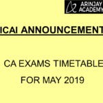 ICAI CA Exams Datesheet / Timetable for May 2019