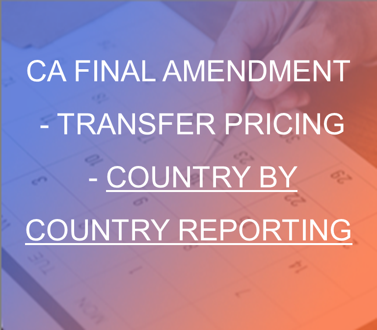 CA Final Amendment - Transfer pricing