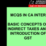 MCQS IN CA INTER - BASIC CONCEPTS OF INDIRECT TAXES AND INTRODUCTION OF GST