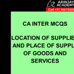 GST CA Inter MCQs - Place of Supply of Goods and Services