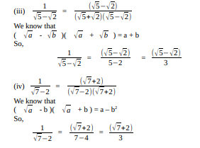 Rationalise the denominators of the following