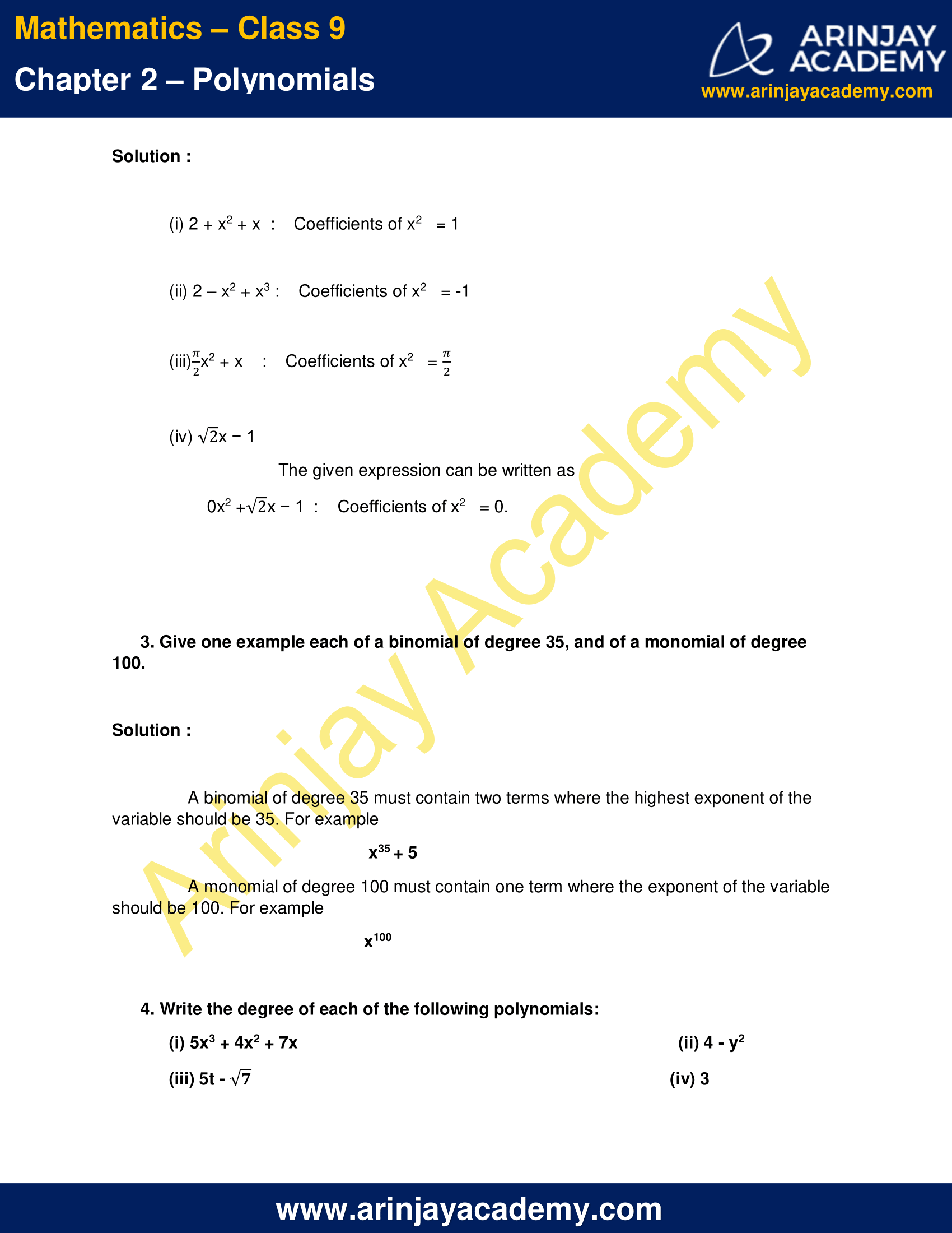 NCERT Solutions For Class 9 Maths Chapter 2 Exercise 2.1 image 2