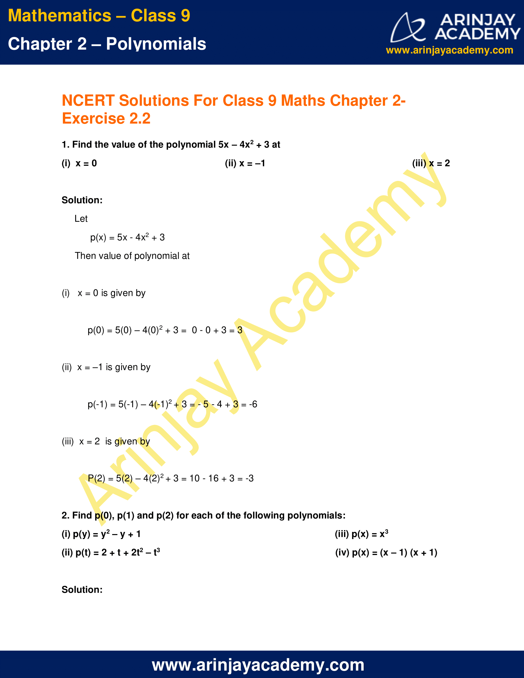 NCERT Solutions for Class 9 Maths Chapter 2 Exercise 2.2 image 1