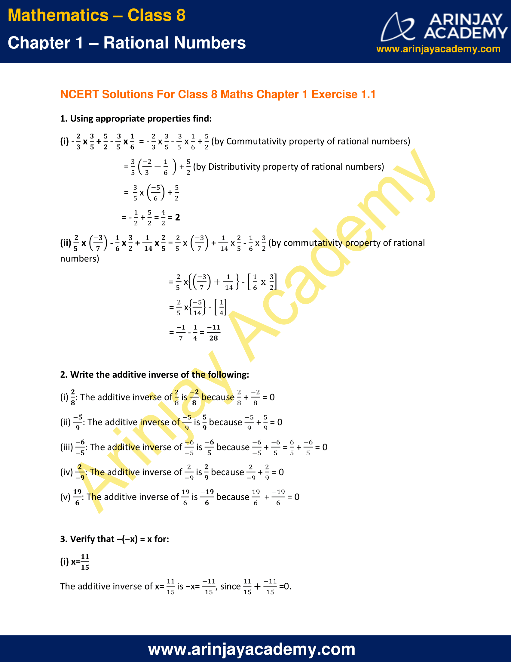 NCERT Solutions for Class 8 Maths Chapter 1 Exercise 1.1 image 1
