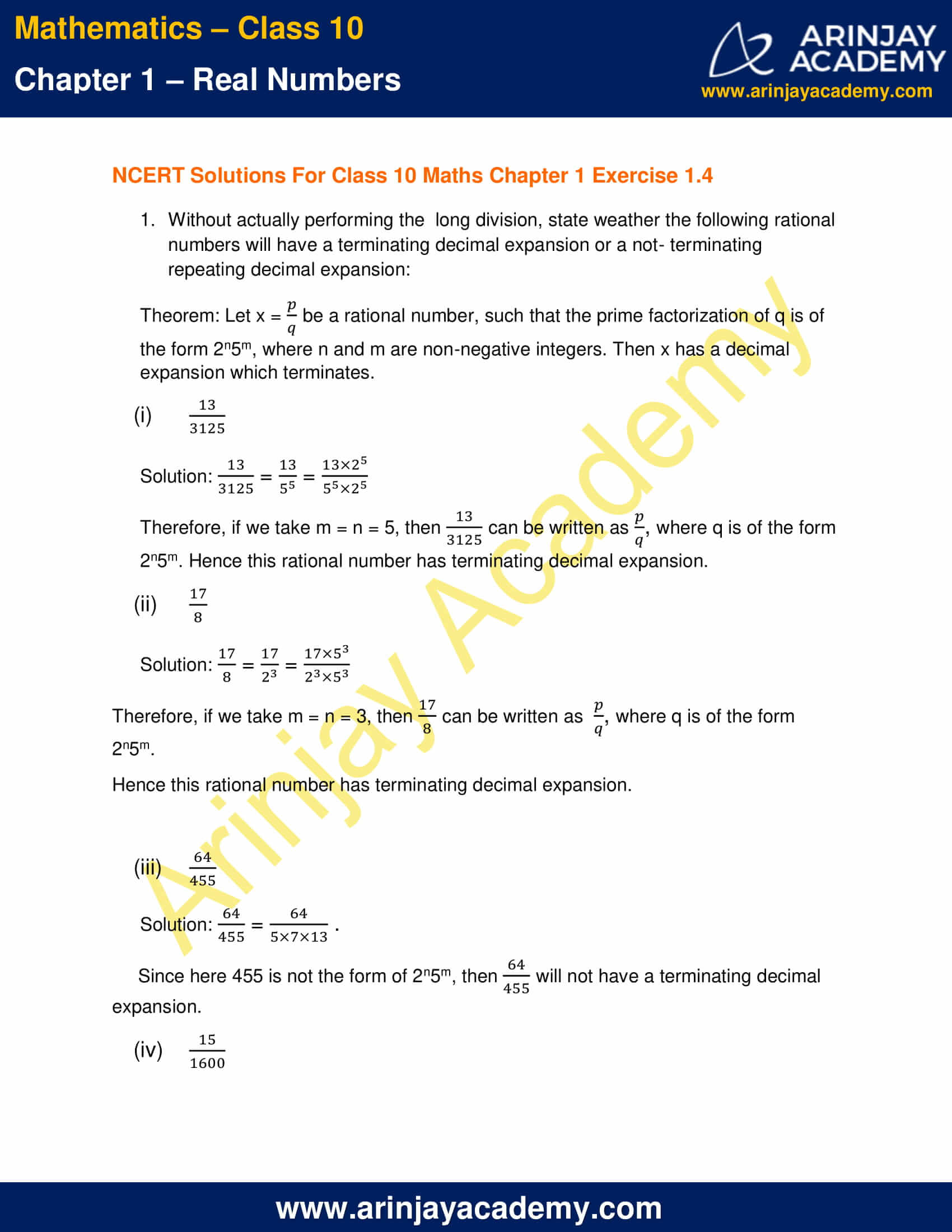 NCERT Solutions For Class 10 Maths Chapter 1 Exercise 1.4 part 1