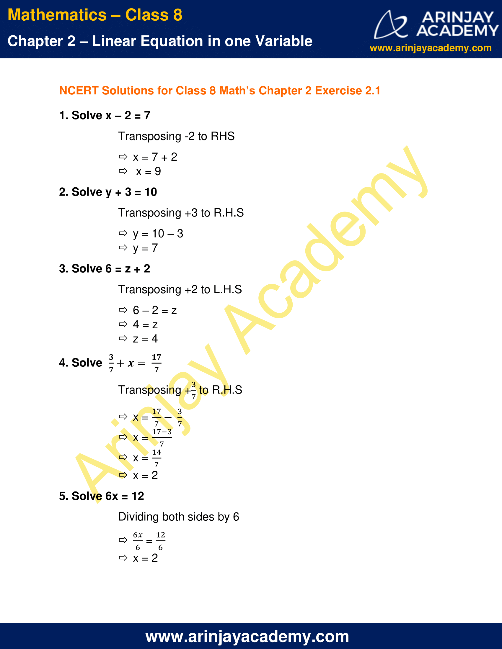NCERT Solutions for Class 8 Maths Chapter 2 Exercise 2.1 image 1