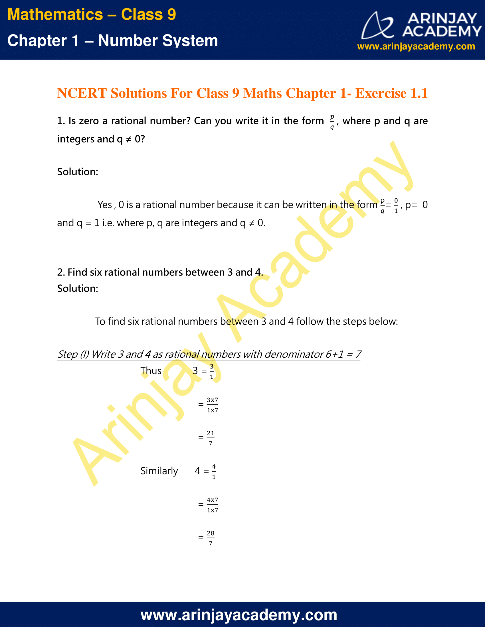 NCERT Solutions For Class 9 Maths Chapter 1 Exercise 1.1 image 1
