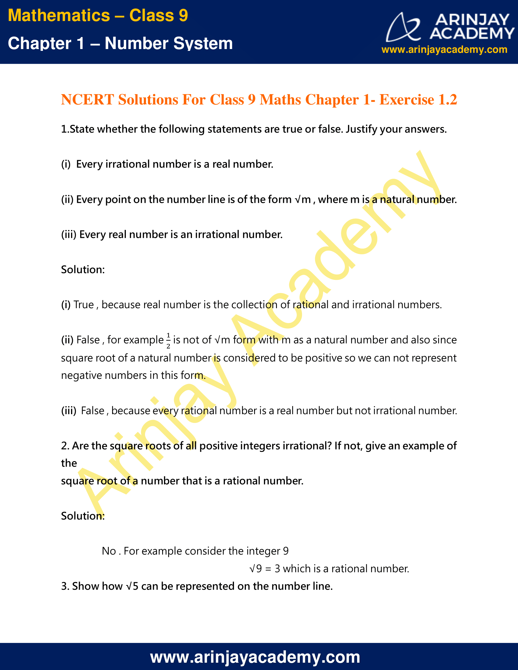 NCERT Solutions For Class 9 Maths Chapter 1 Exercise 1.2 image 1