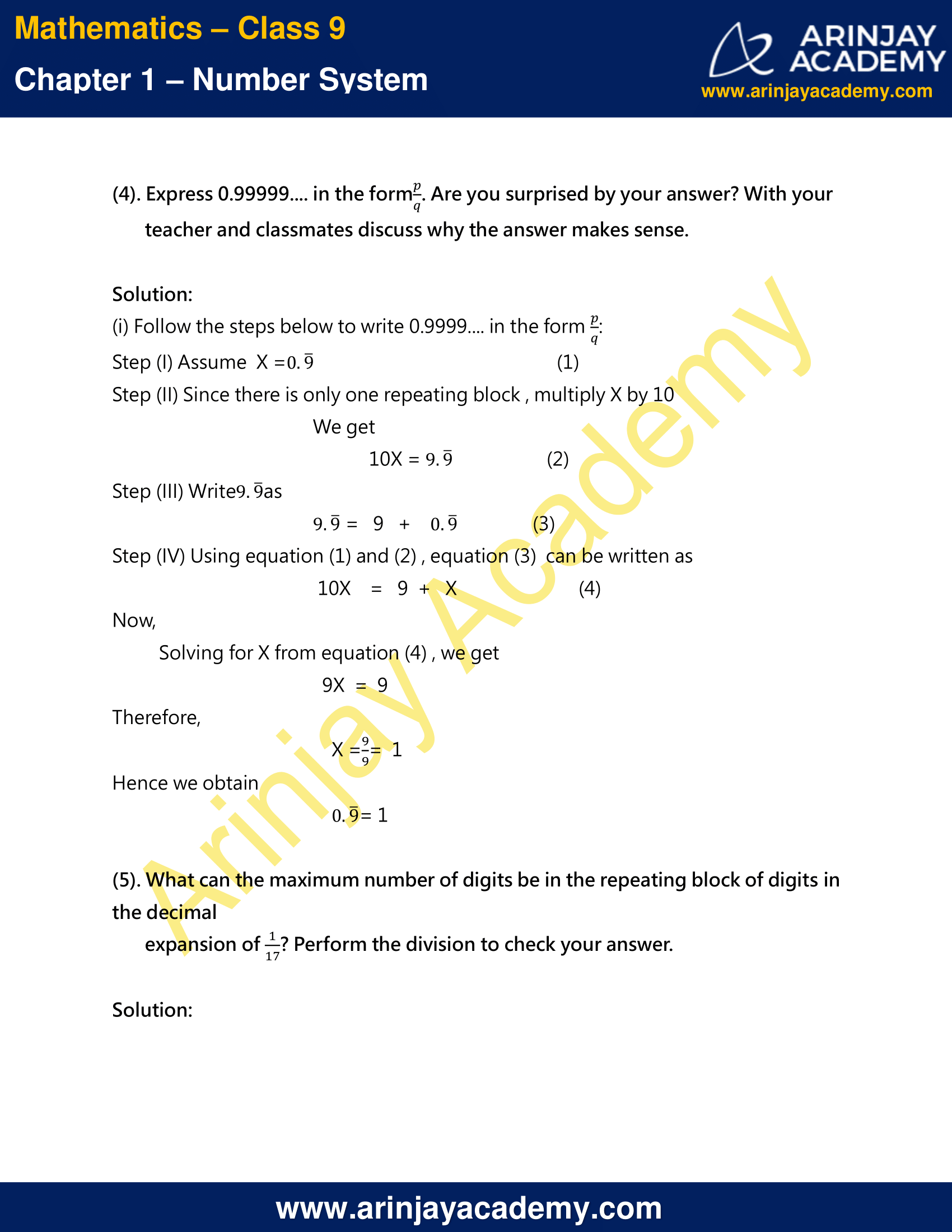 NCERT Solutions For Class 9 Maths Chapter 1 Exercise 1.3 image 7