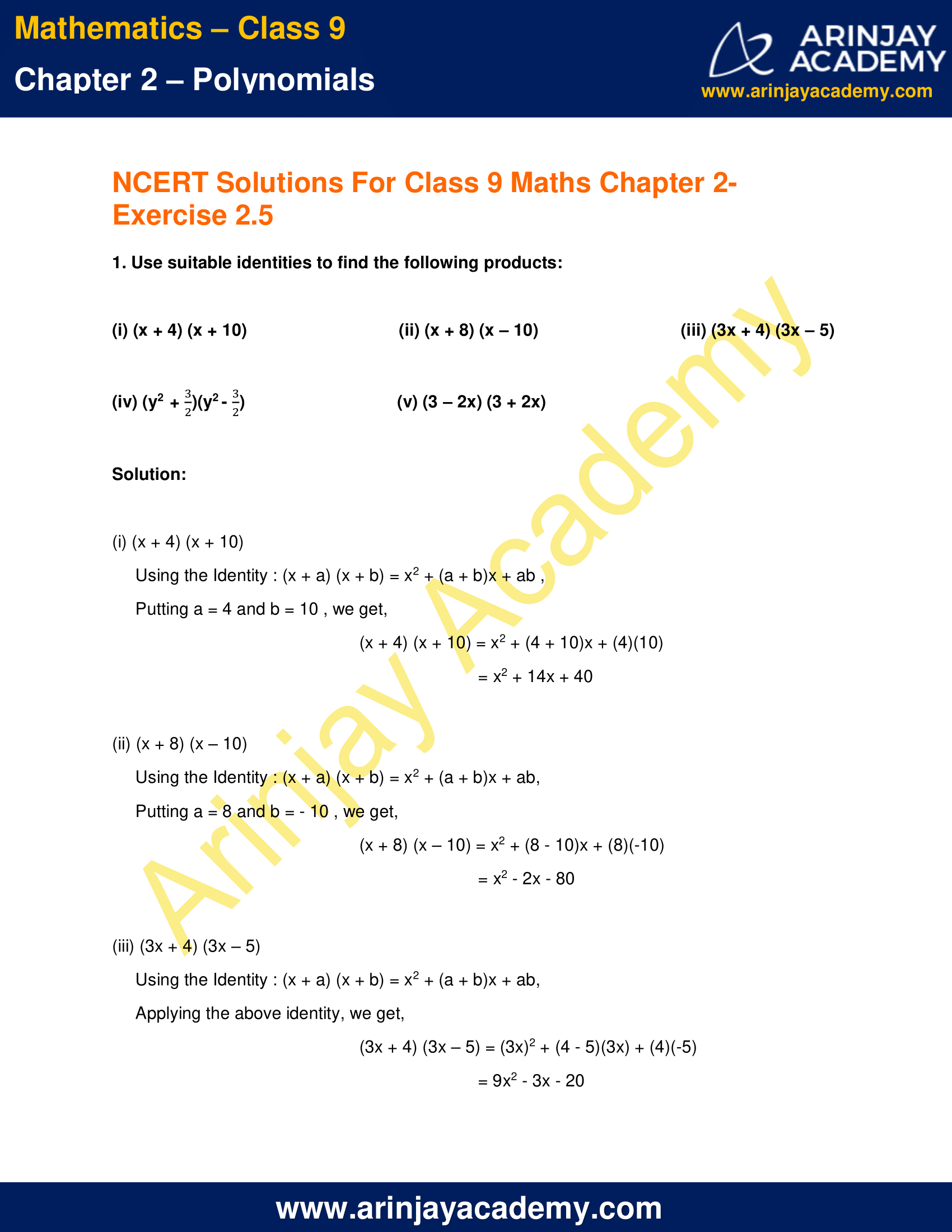 NCERT Solutions for Class 9 Maths Chapter 2 Exercise 2.5 image 1