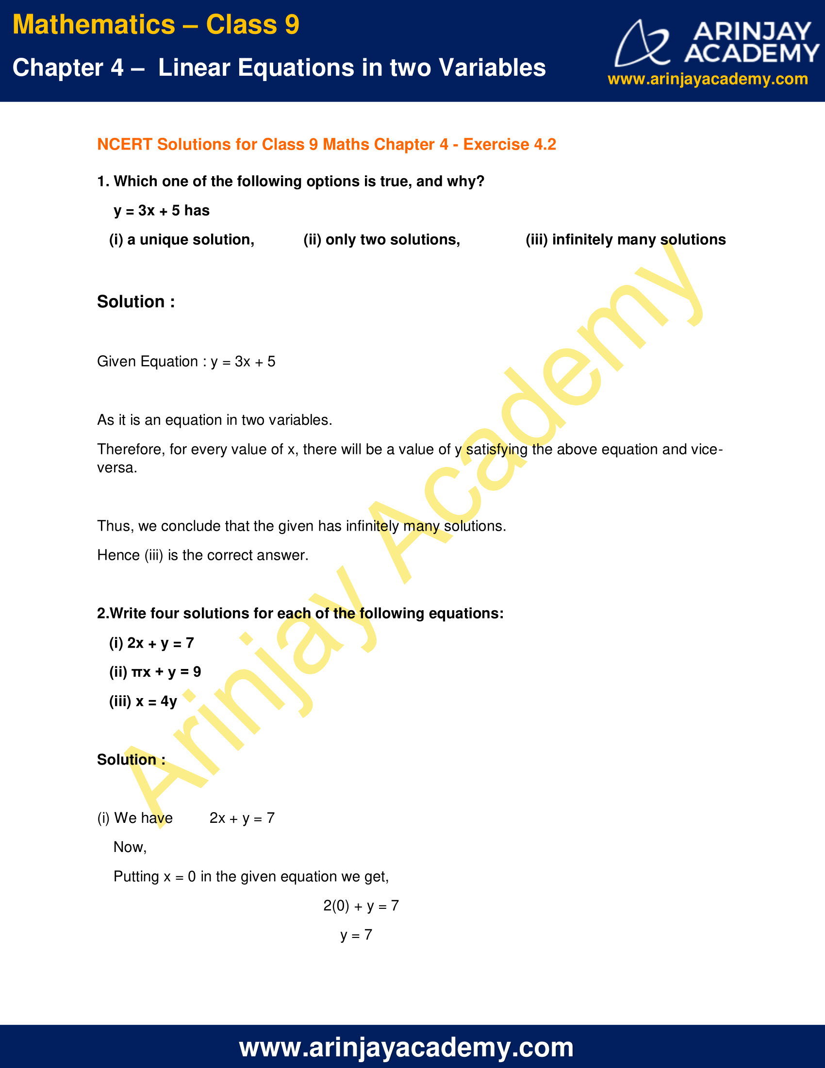 NCERT Solutions for Class 9 Maths Chapter 4 Exercise 4.2 image 1