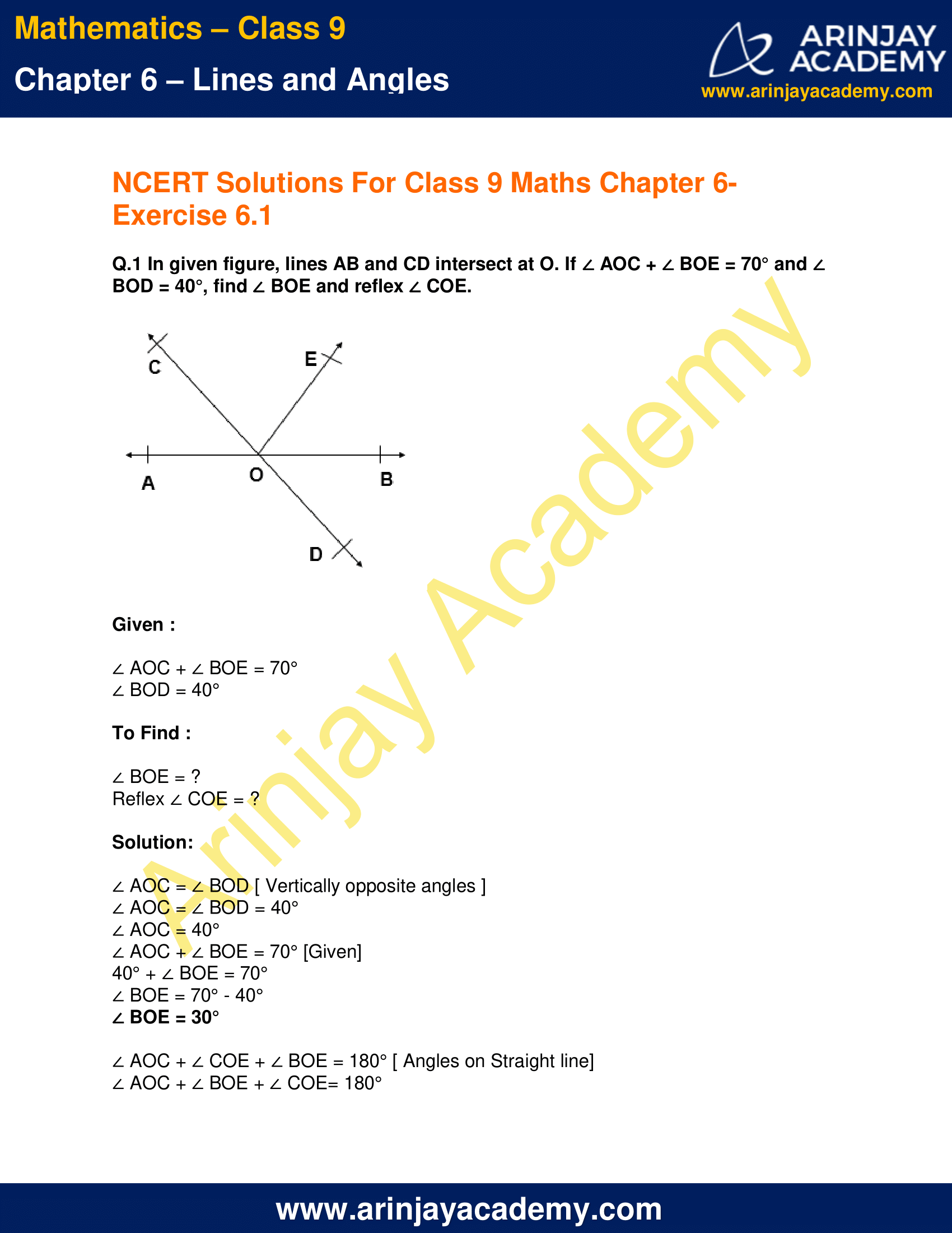 NCERT Solutions for Class 9 Maths Chapter 6 Exercise 6.1 image 1