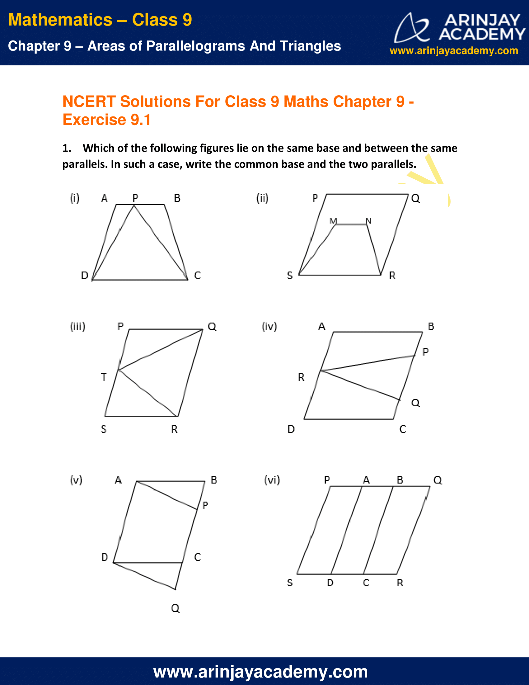NCERT Solutions for Class 9 Maths Chapter 9 Exercise 9.1 image 1