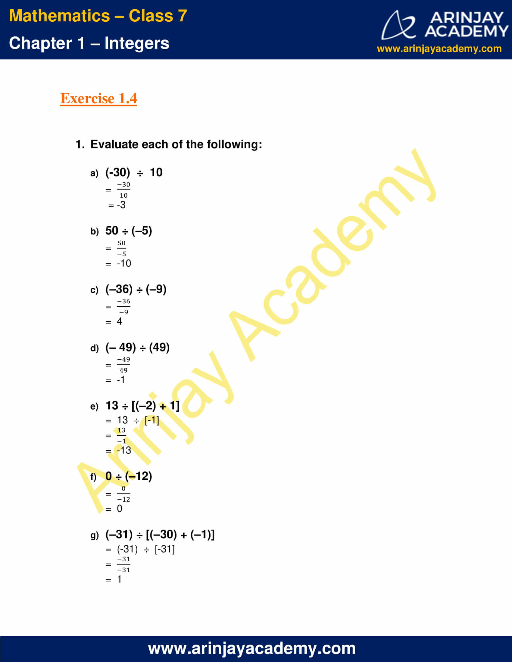 Class 7 Maths NCERT Solutions Chapter 1 Exercise 1.4 image 1