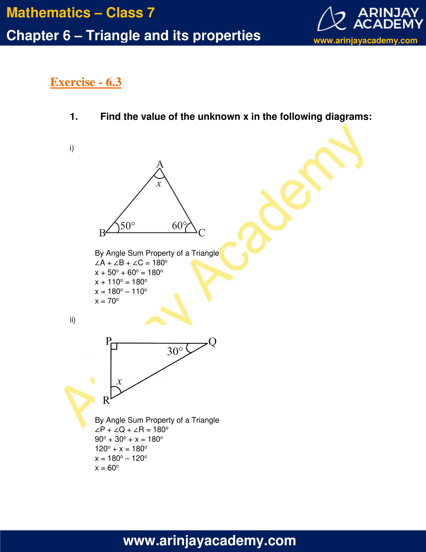 NCERT Solutions for Class 7 Maths Chapter 6 Exercise 6.3 image 1