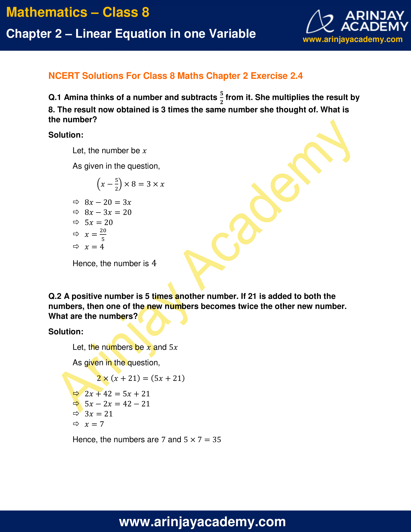 NCERT Solutions for Class 8 Maths Chapter 2 Exercise 2.4 image 1