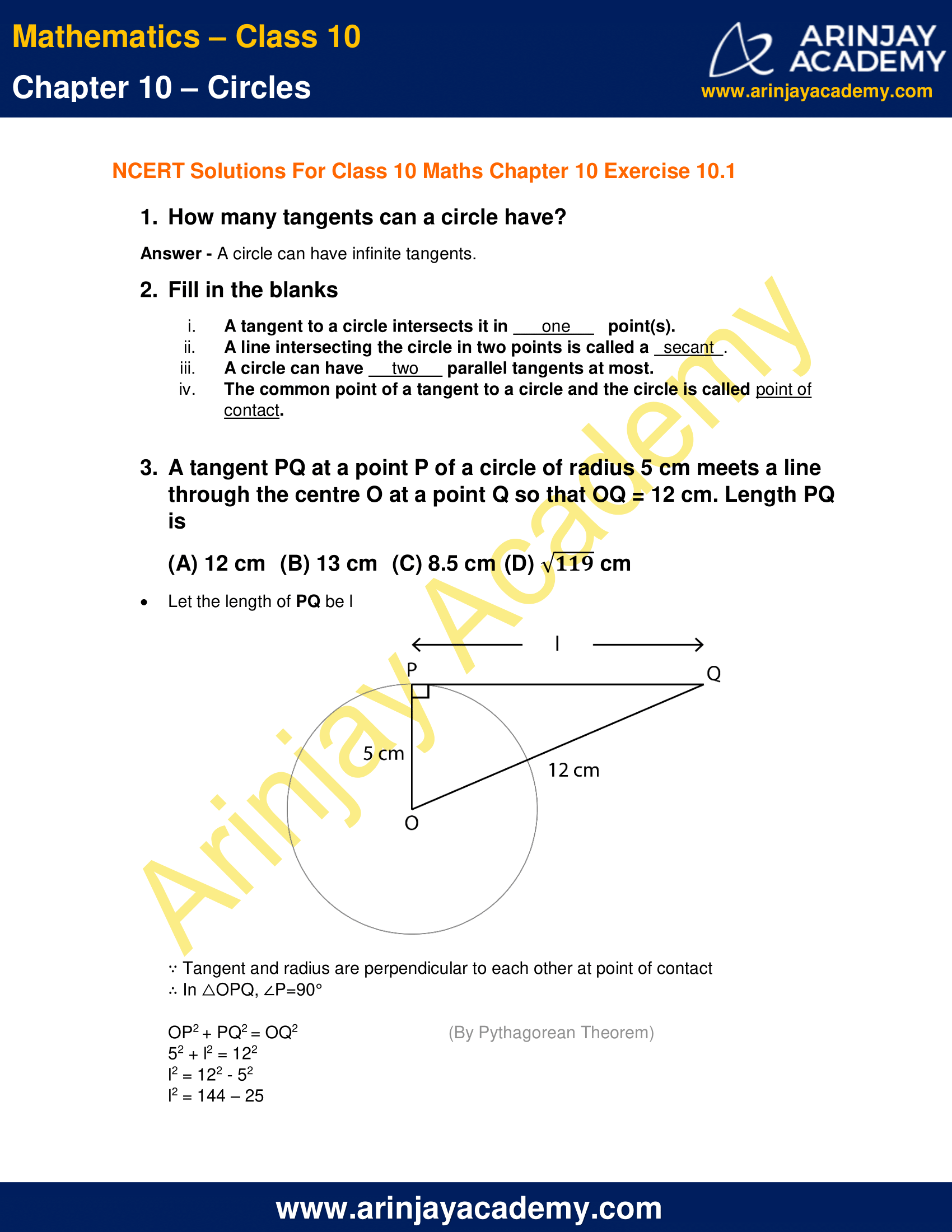 NCERT Solutions For Class 10 Maths Chapter 10 Exercise 10.1 image 1
