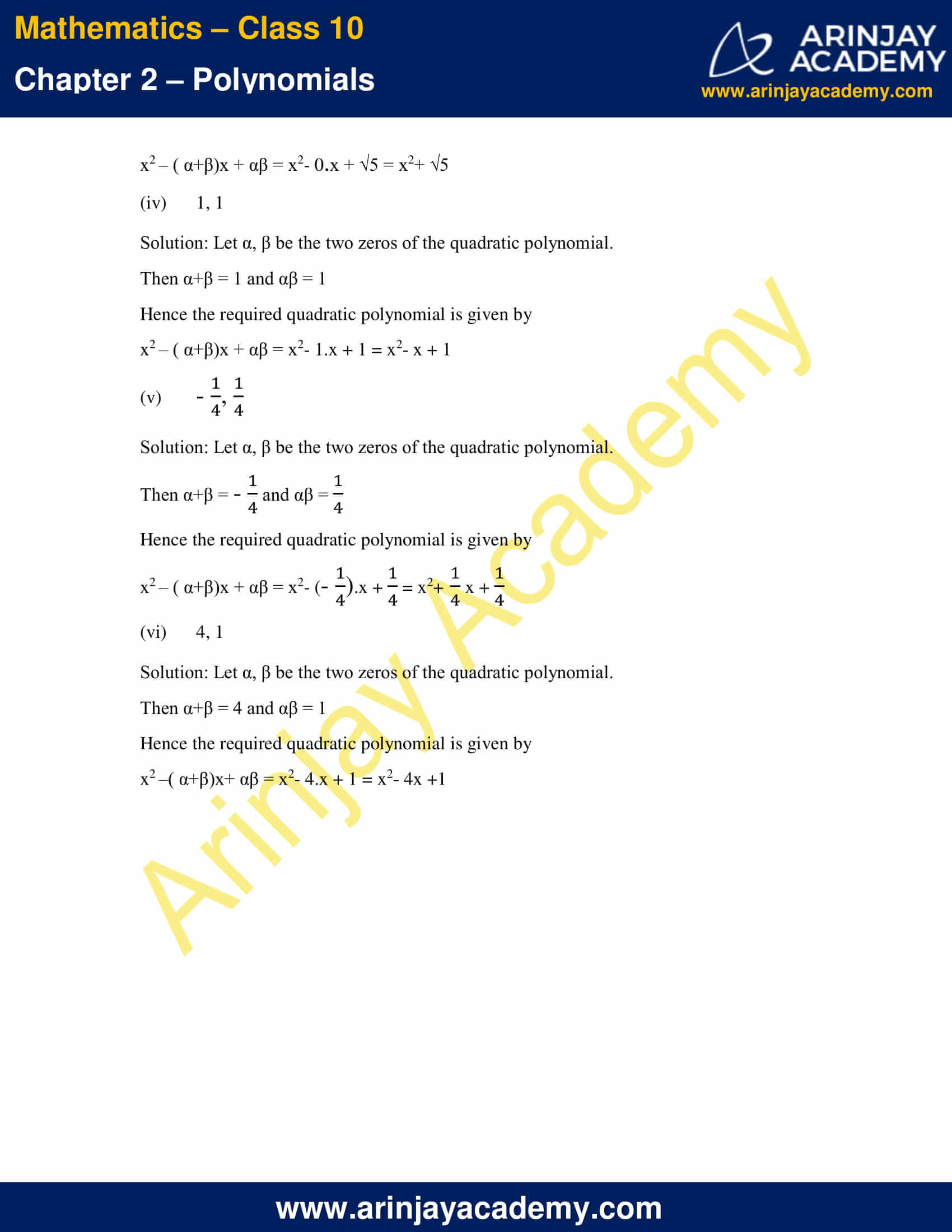 NCERT Solutions For Class 10 Maths Chapter 2 Exercise 2.2 part 5