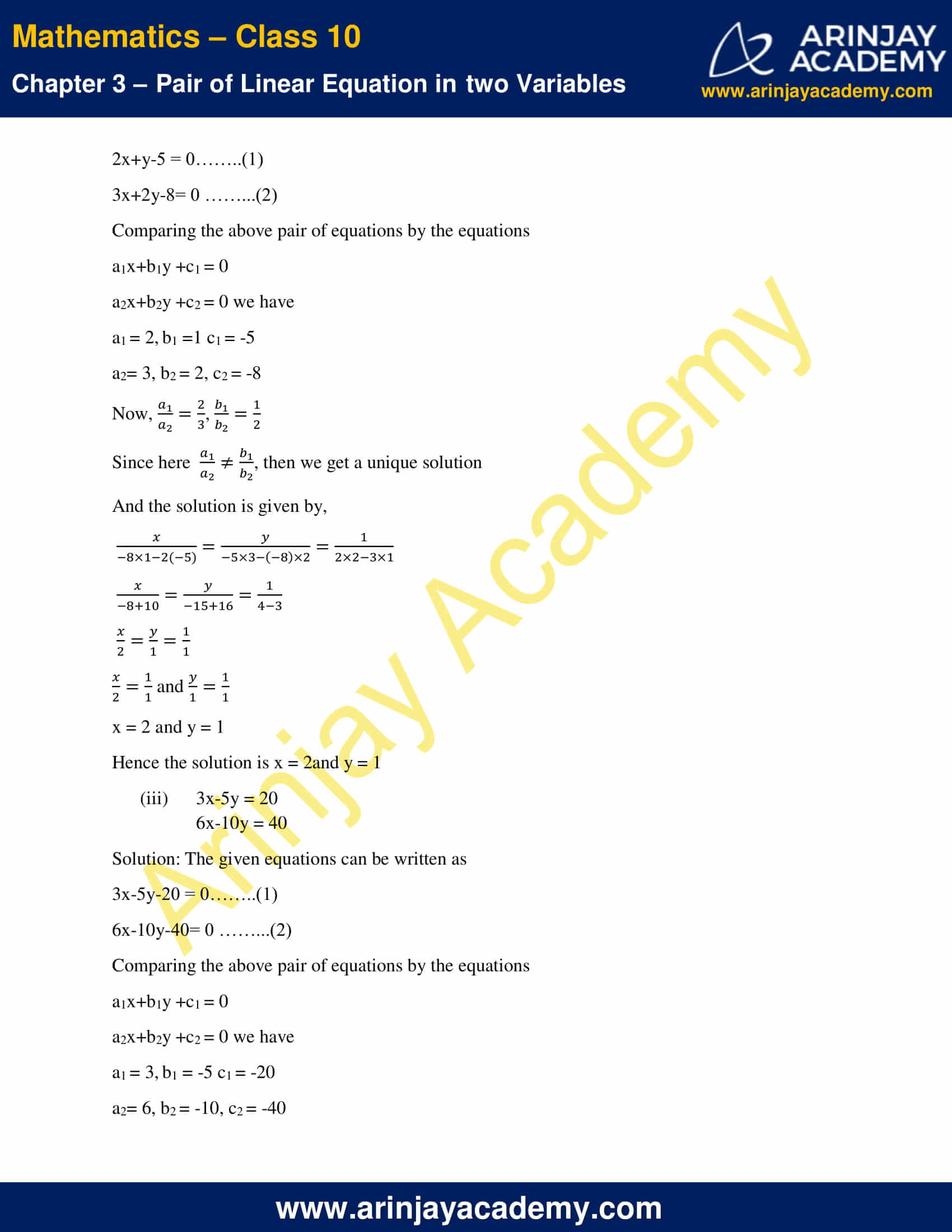 NCERT Solutions For Class 10 Maths Chapter 3 Exercise 3.5 image 2