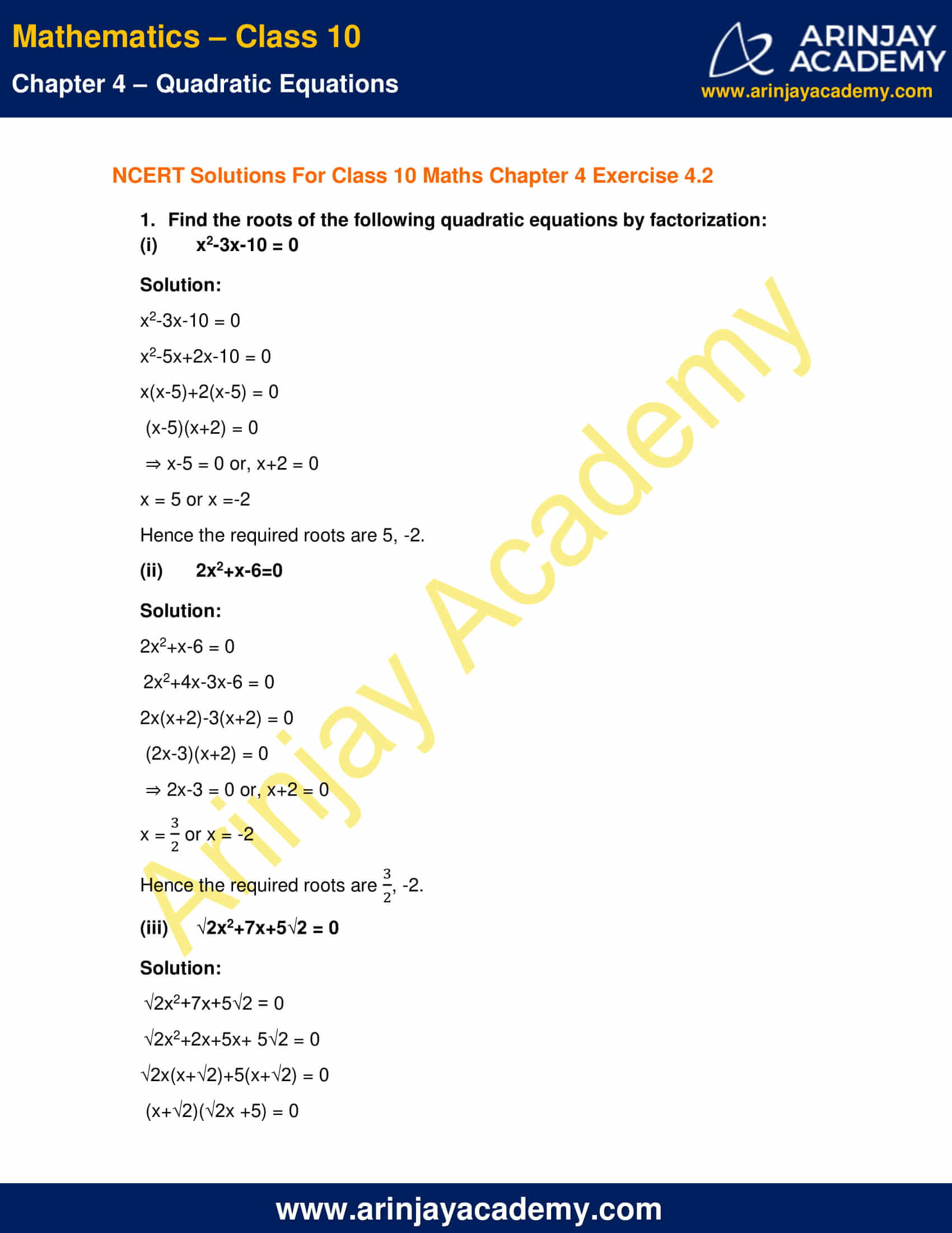 NCERT Solutions For Class 10 Maths Chapter 4 Exercise 4.2 image 1