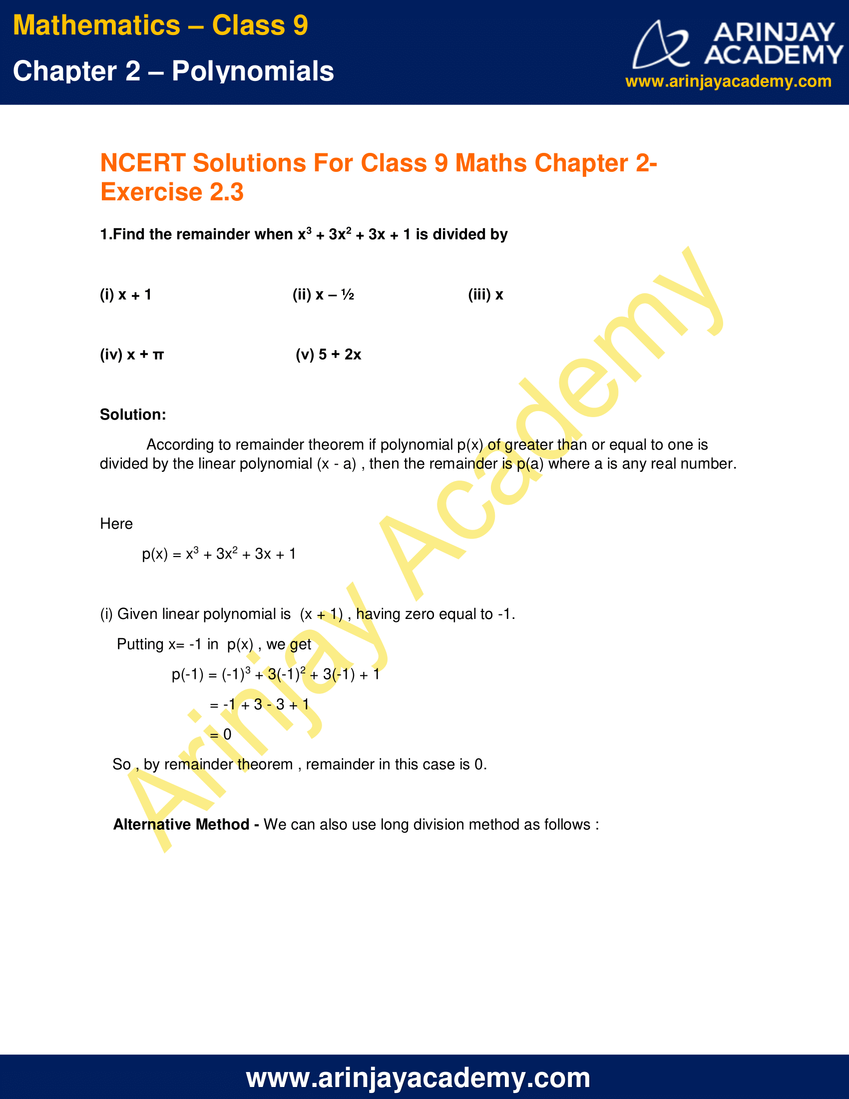NCERT Solutions for Class 9 Maths Chapter 2 Exercise 2.3 image 1