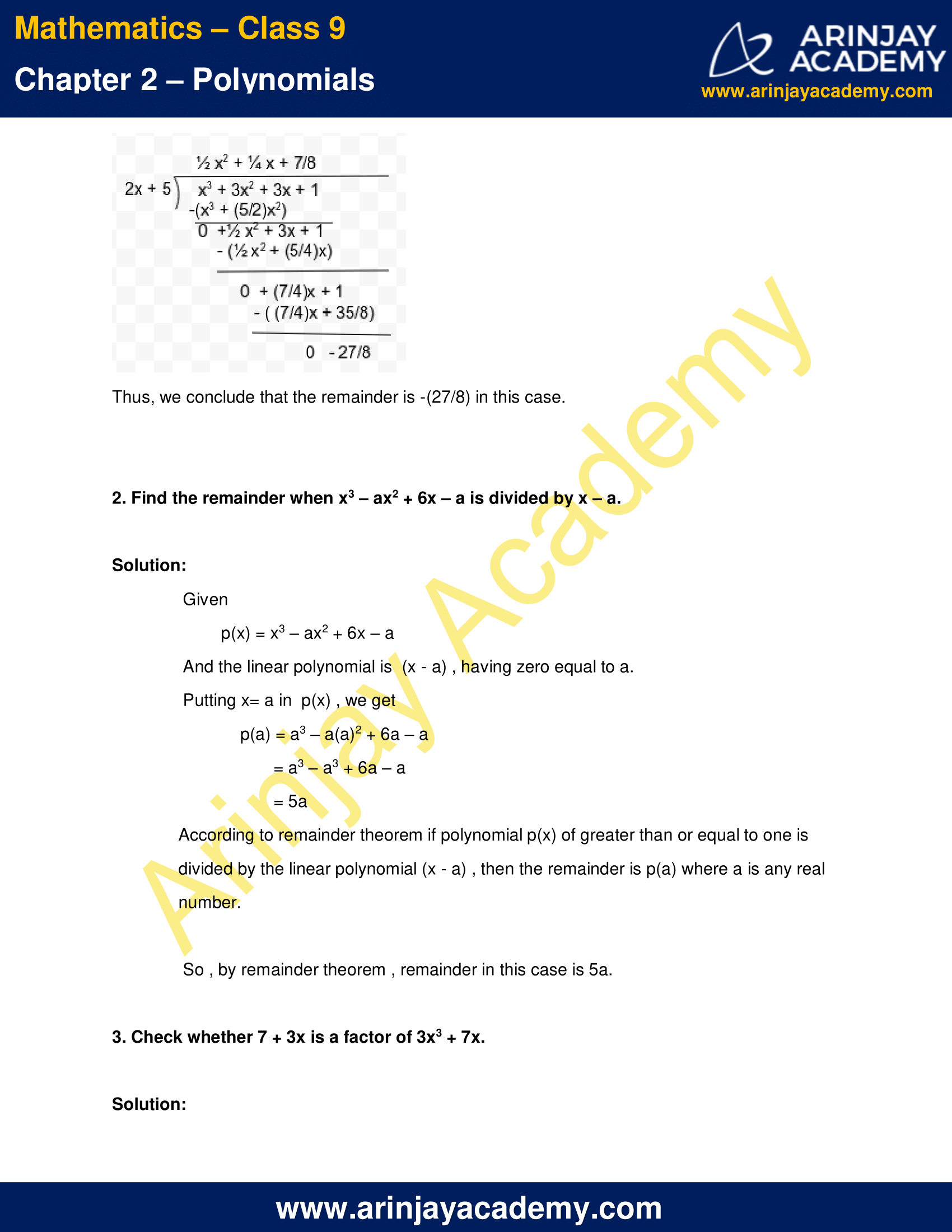 NCERT Solutions for Class 9 Maths Chapter 2 Exercise 2.3 image 5