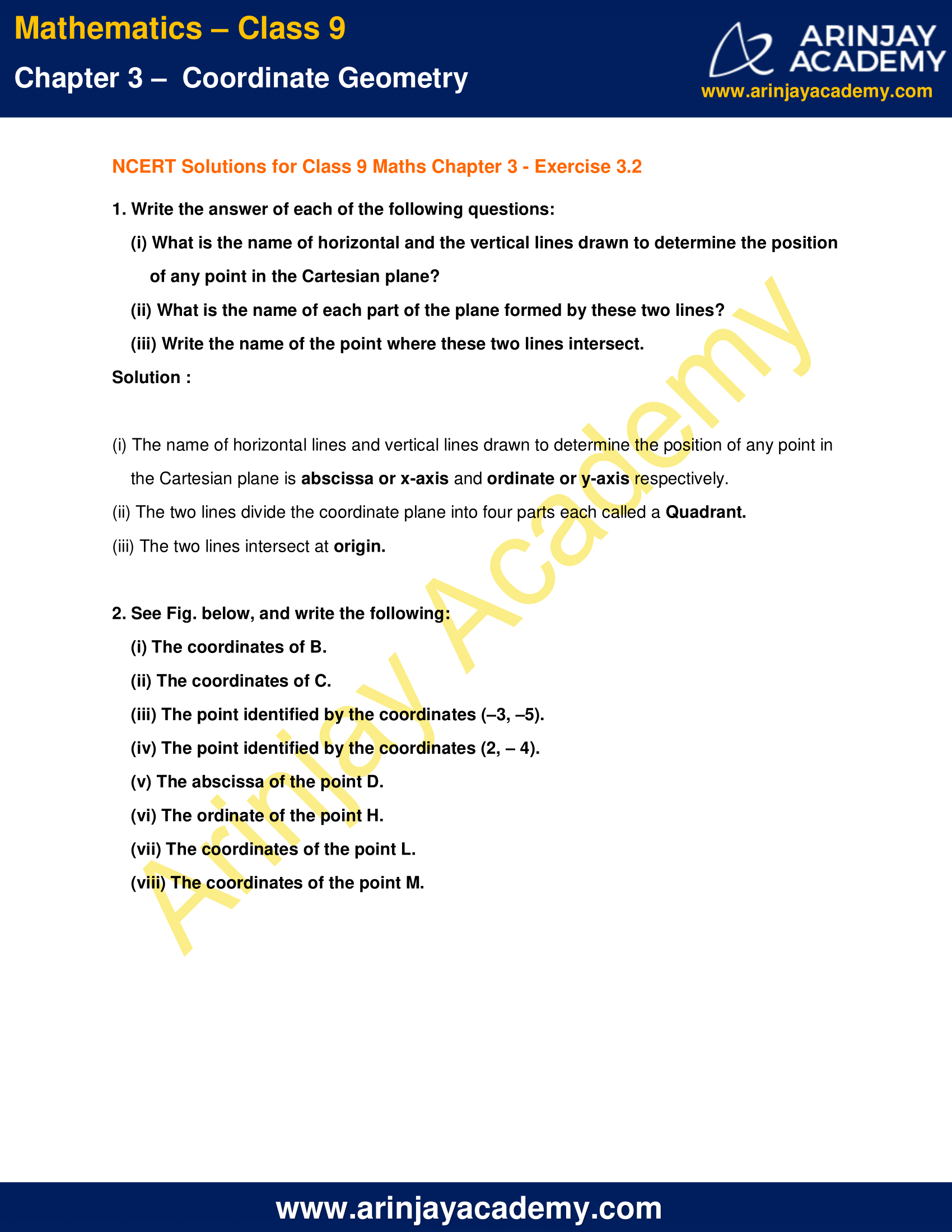 NCERT Solutions for Class 9 Maths Chapter 3 Exercise 3.2 image 1