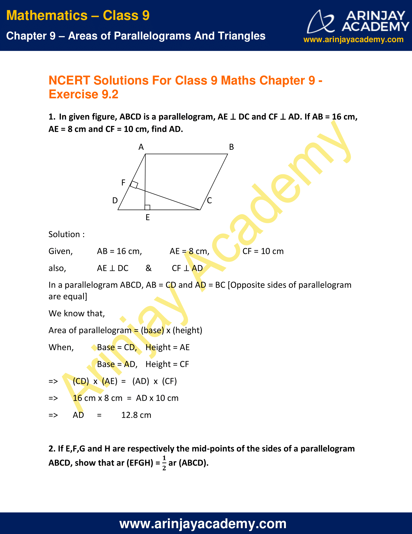 NCERT Solutions for Class 9 Maths Chapter 9 Exercise 9.2 image 1