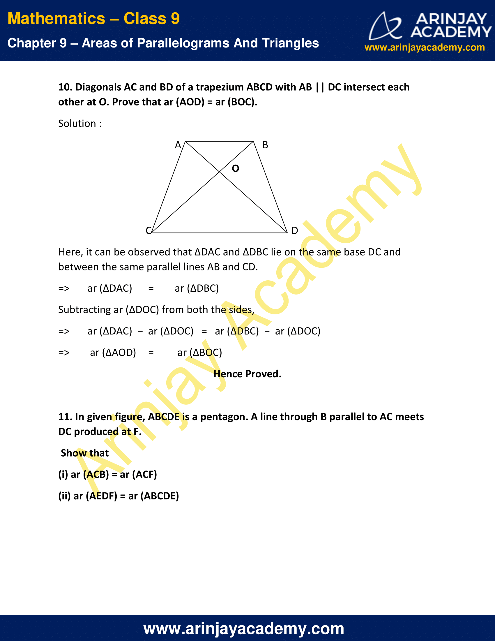 NCERT Solutions for Class 9 Maths Chapter 9 Exercise 9.3 image 13