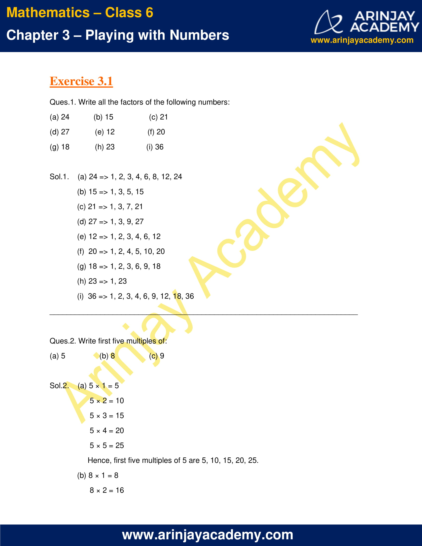 NCERT Solutions for Class 6 Maths Chapter 3 Exercise 3.1 image 1