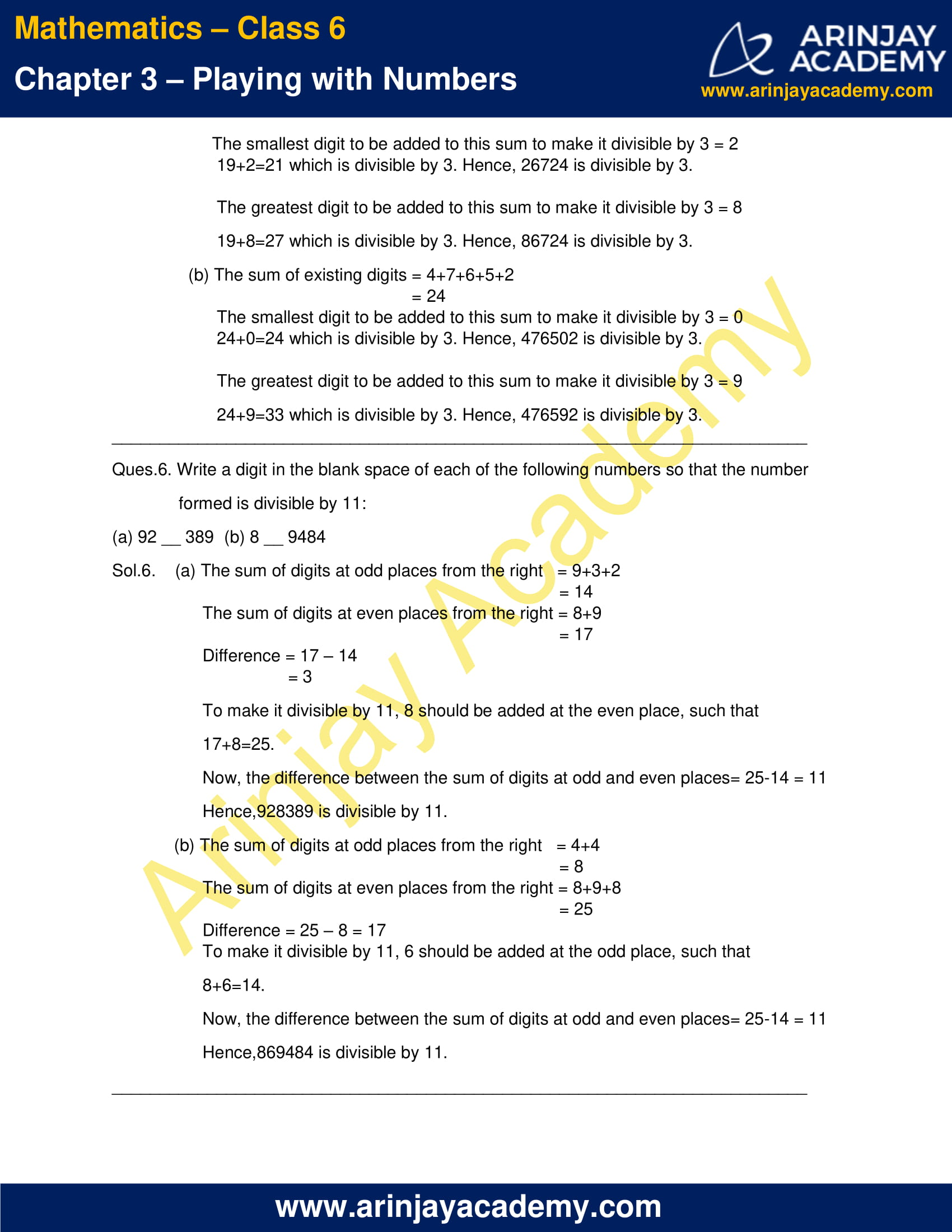 NCERT Solutions for Class 6 Maths Chapter 3 Exercise 3.3 image 7