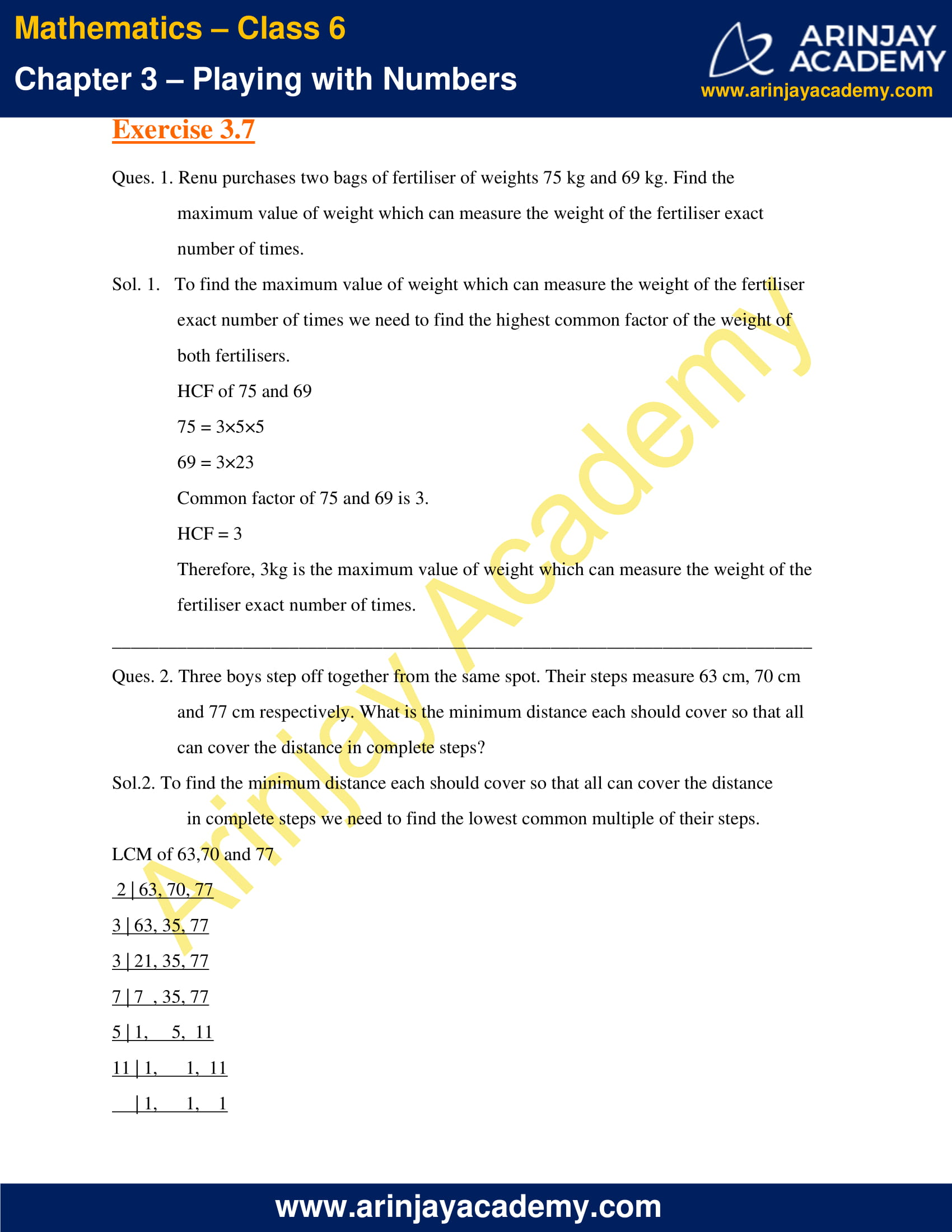 NCERT Solutions for Class 6 Maths Chapter 3 Exercise 3.7 image 1