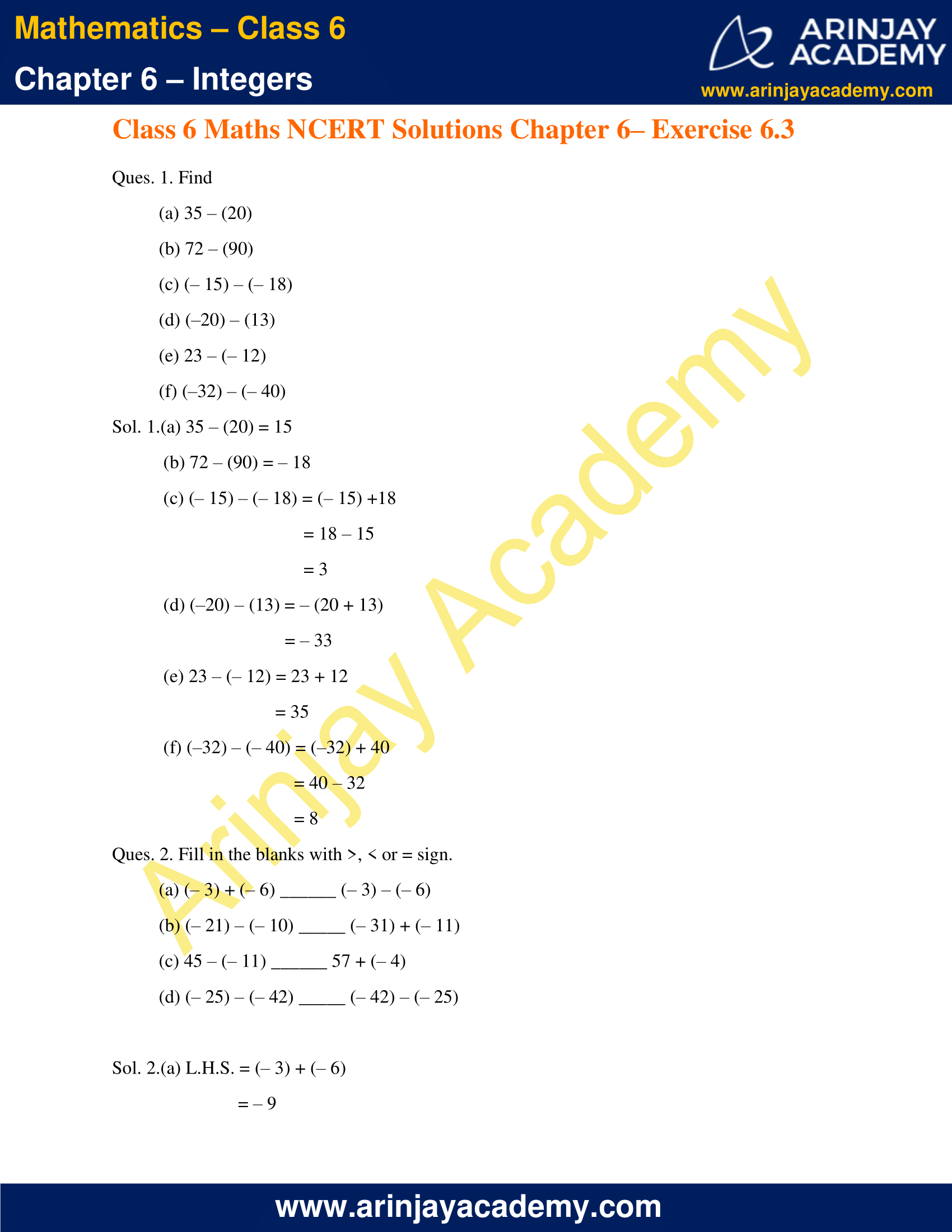 NCERT Solutions for Class 6 Maths Chapter 6 Integers Exercise 6.3 image 1