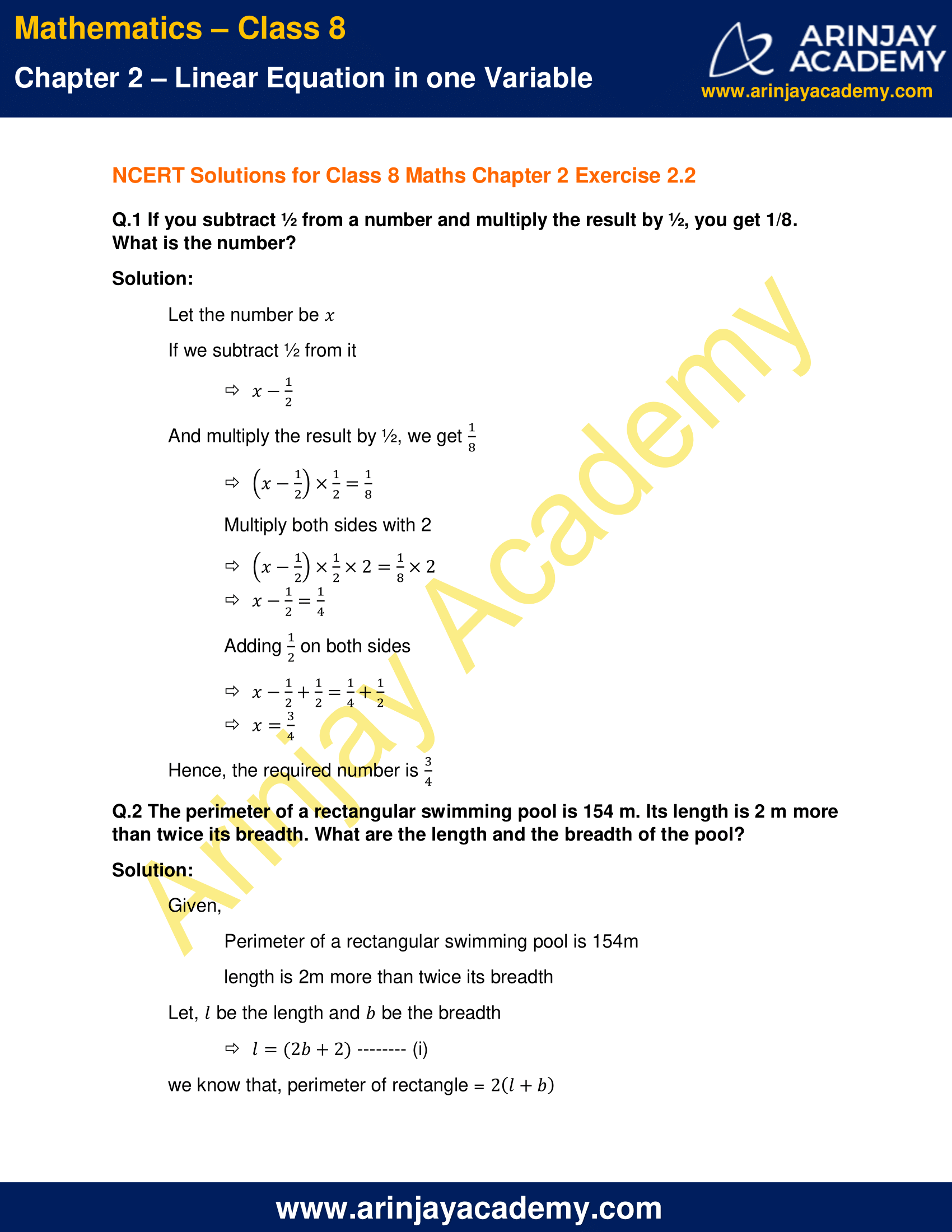 NCERT Solutions for Class 8 Maths Chapter 2 Exercise 2.2 image 1