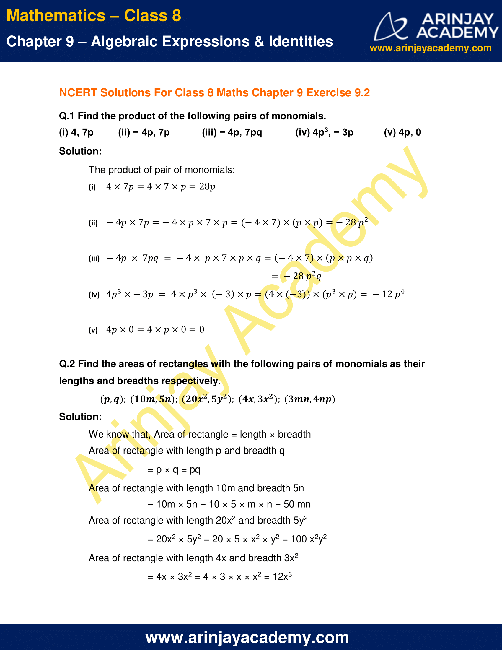 NCERT Solutions for Class 8 Maths Chapter 9 Exercise 9.2 image 1