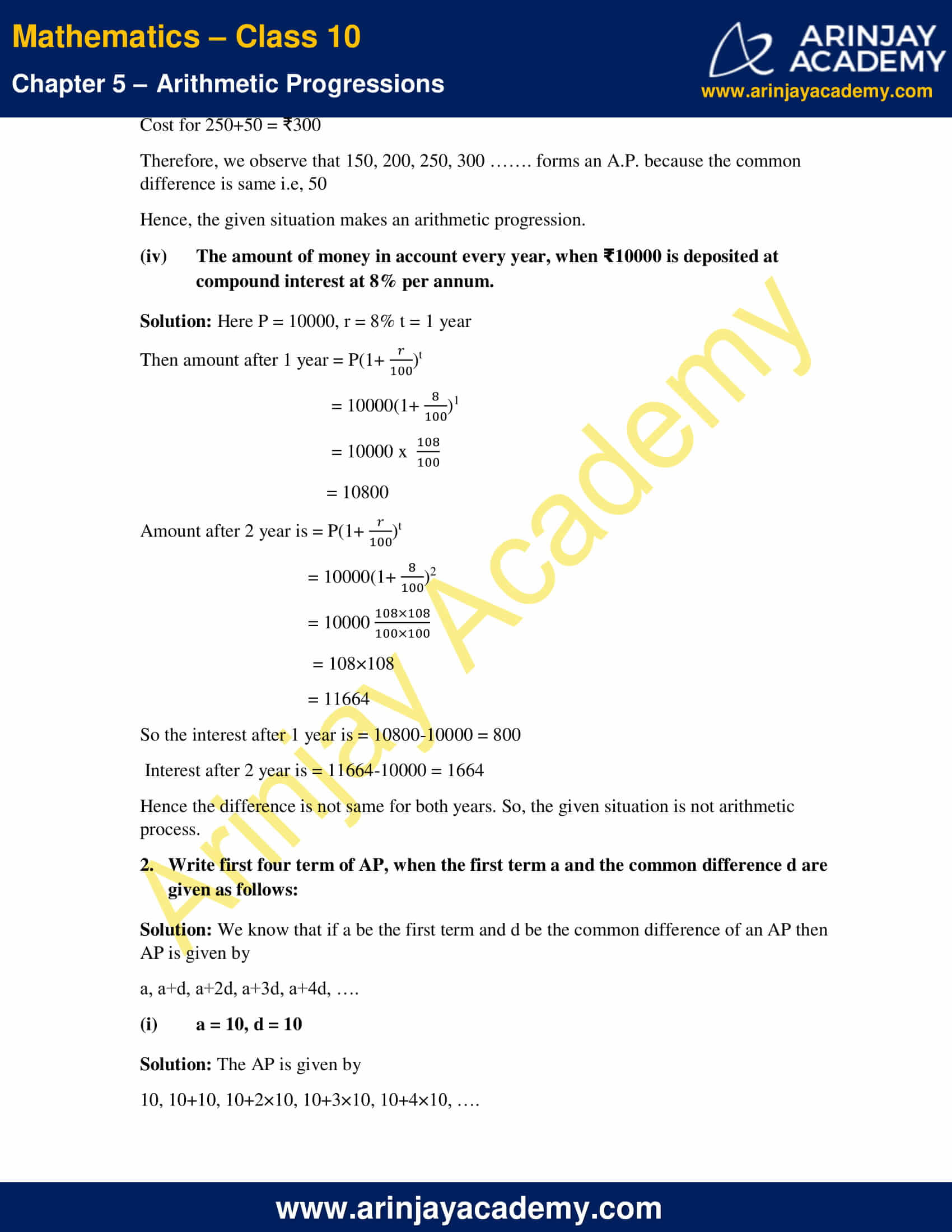 NCERT Solutions For Class 10 Maths Chapter 5 Exercise 5.1 image 2