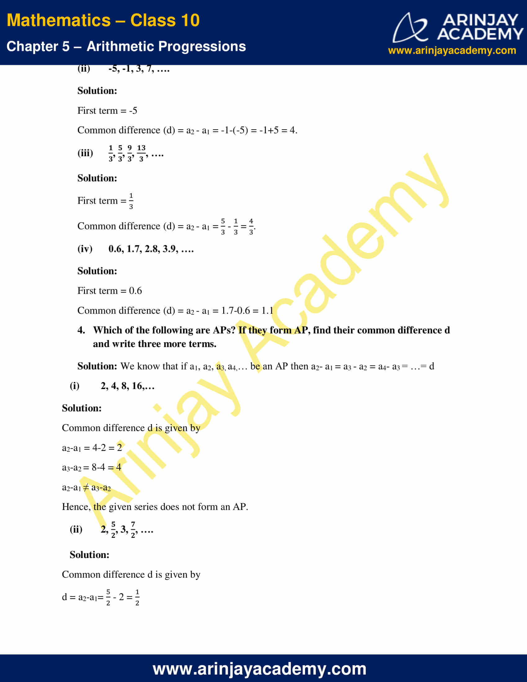 NCERT Solutions For Class 10 Maths Chapter 5 Exercise 5.1 image 4