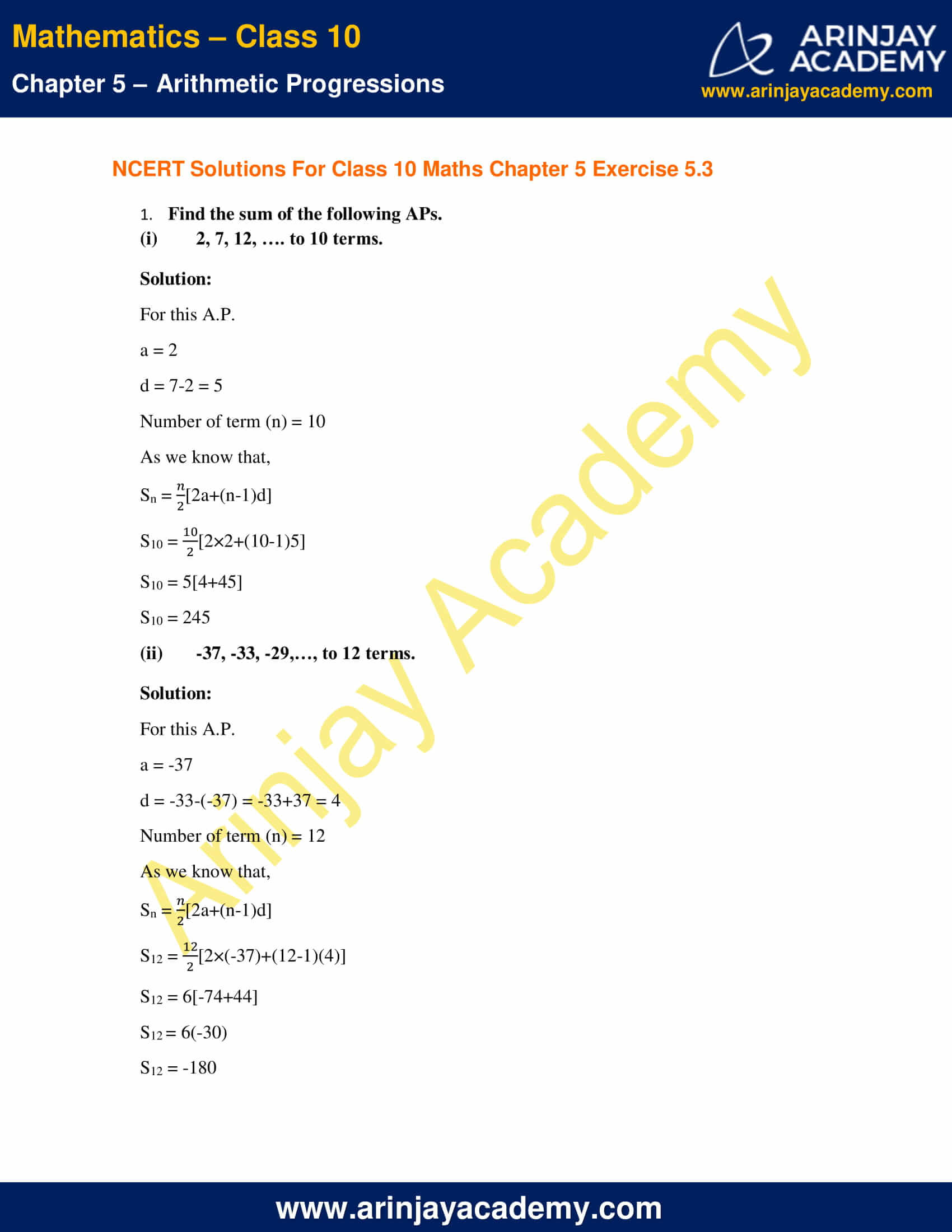NCERT Solutions For Class 10 Maths Chapter 5 Exercise 5.3 image 1