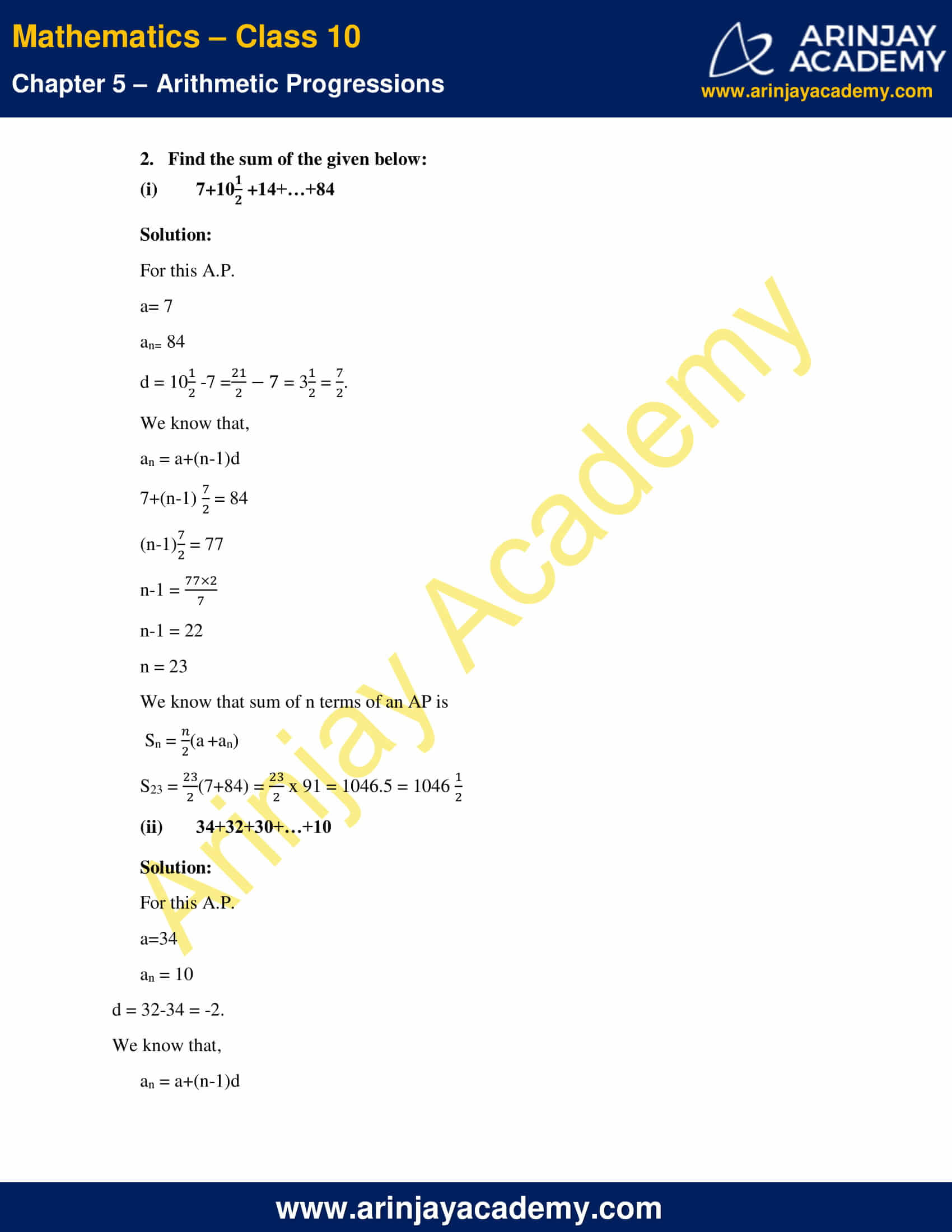 NCERT Solutions For Class 10 Maths Chapter 5 Exercise 5.3 image 3