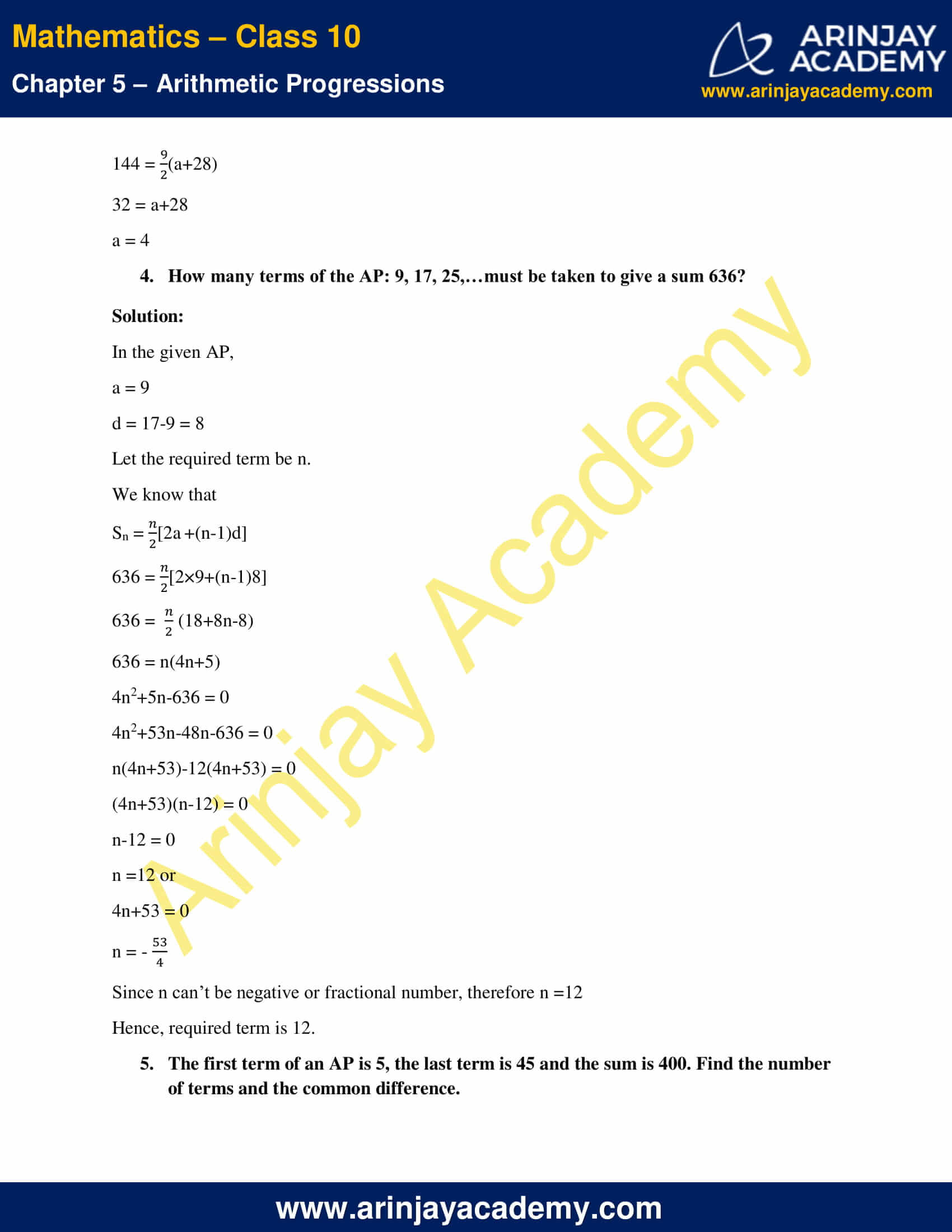 NCERT Solutions For Class 10 Maths Chapter 5 Exercise 5.3 image 11