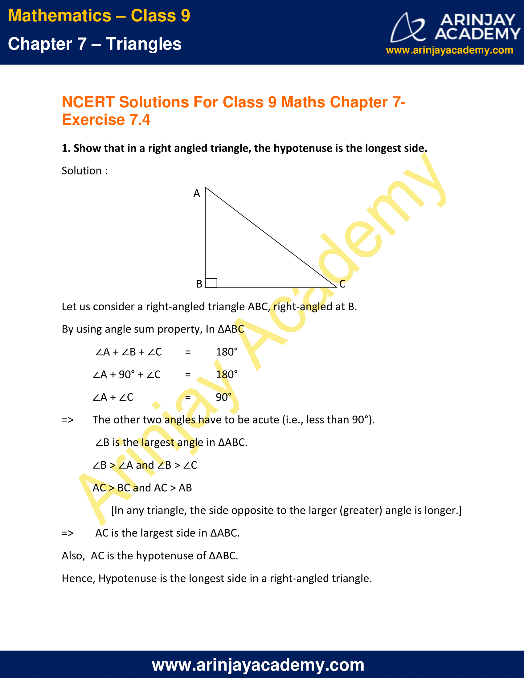 NCERT Solutions for Class 9 Maths Chapter 7 Exercise 7.4 image 1