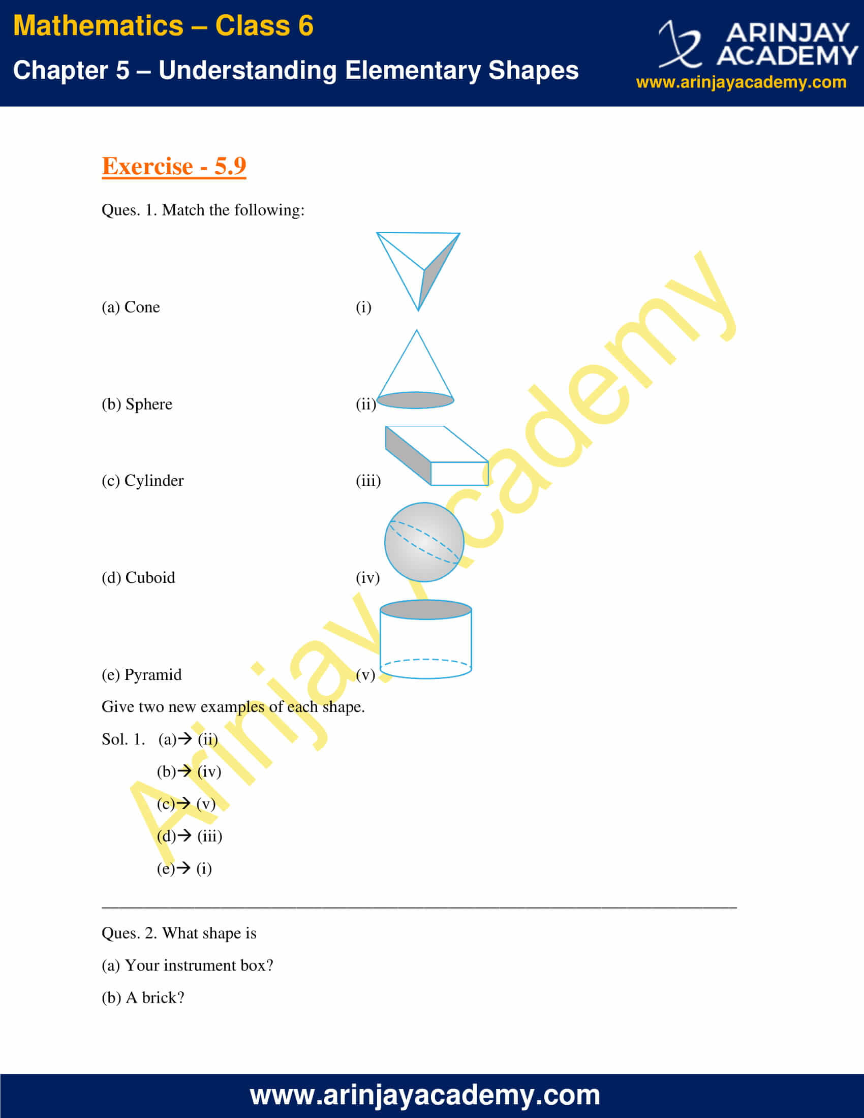 NCERT Solutions for Class 6 Maths Chapter 5 Exercise 5.9 image 1