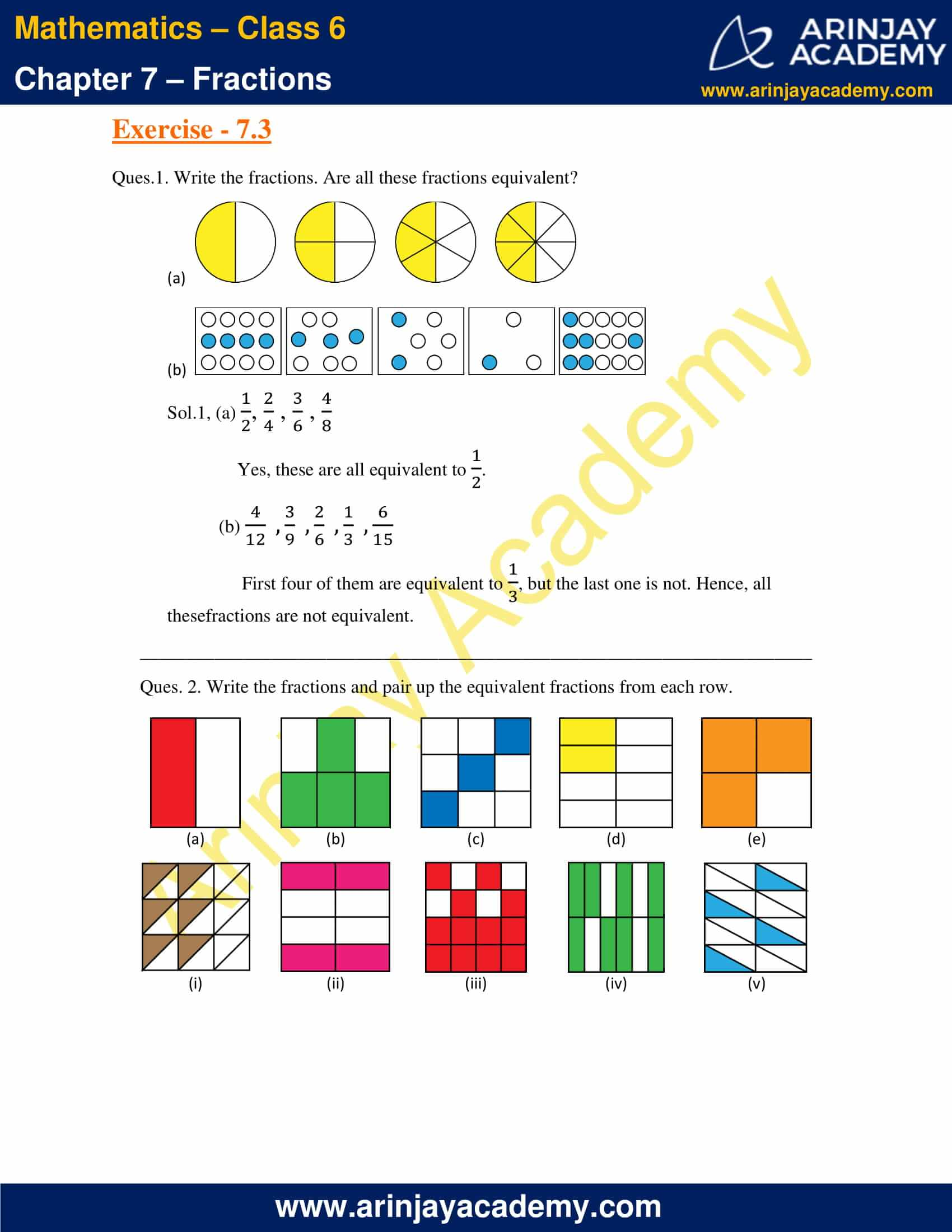 NCERT Solutions for Class 6 Maths Chapter 7 Exercise 7.3 image 1