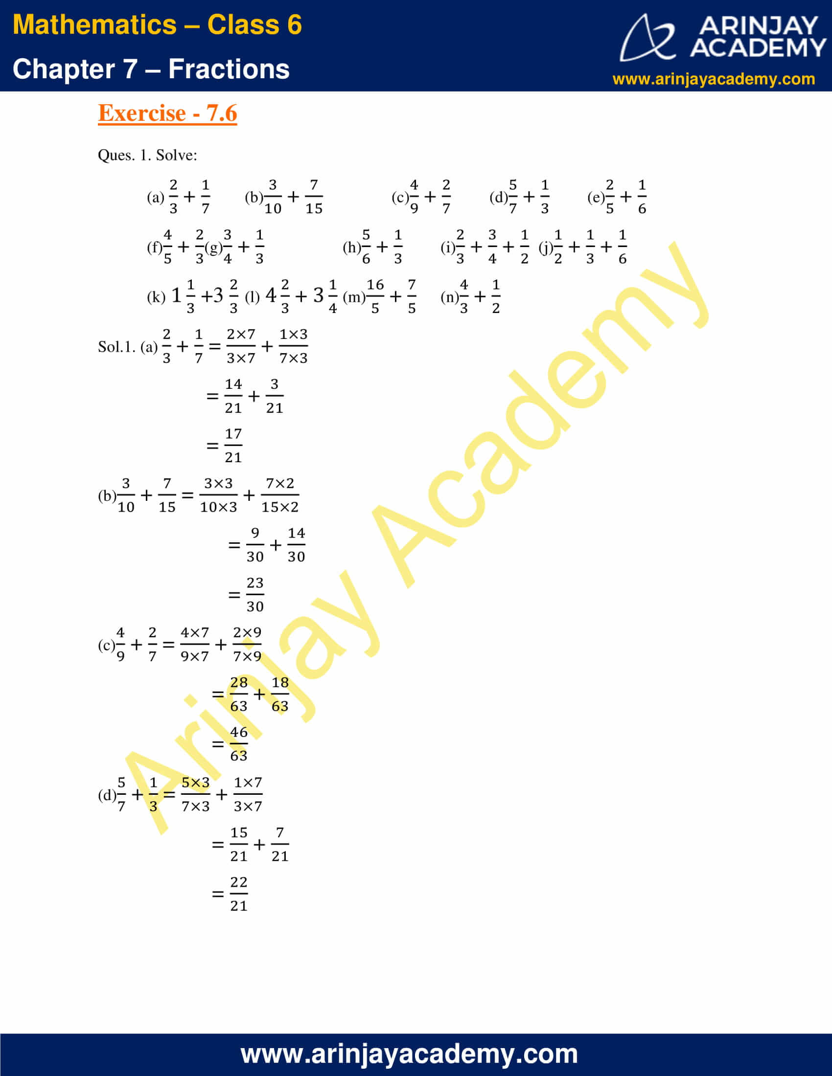 NCERT Solutions for Class 6 Maths Chapter 7 Exercise 7.6 image 1