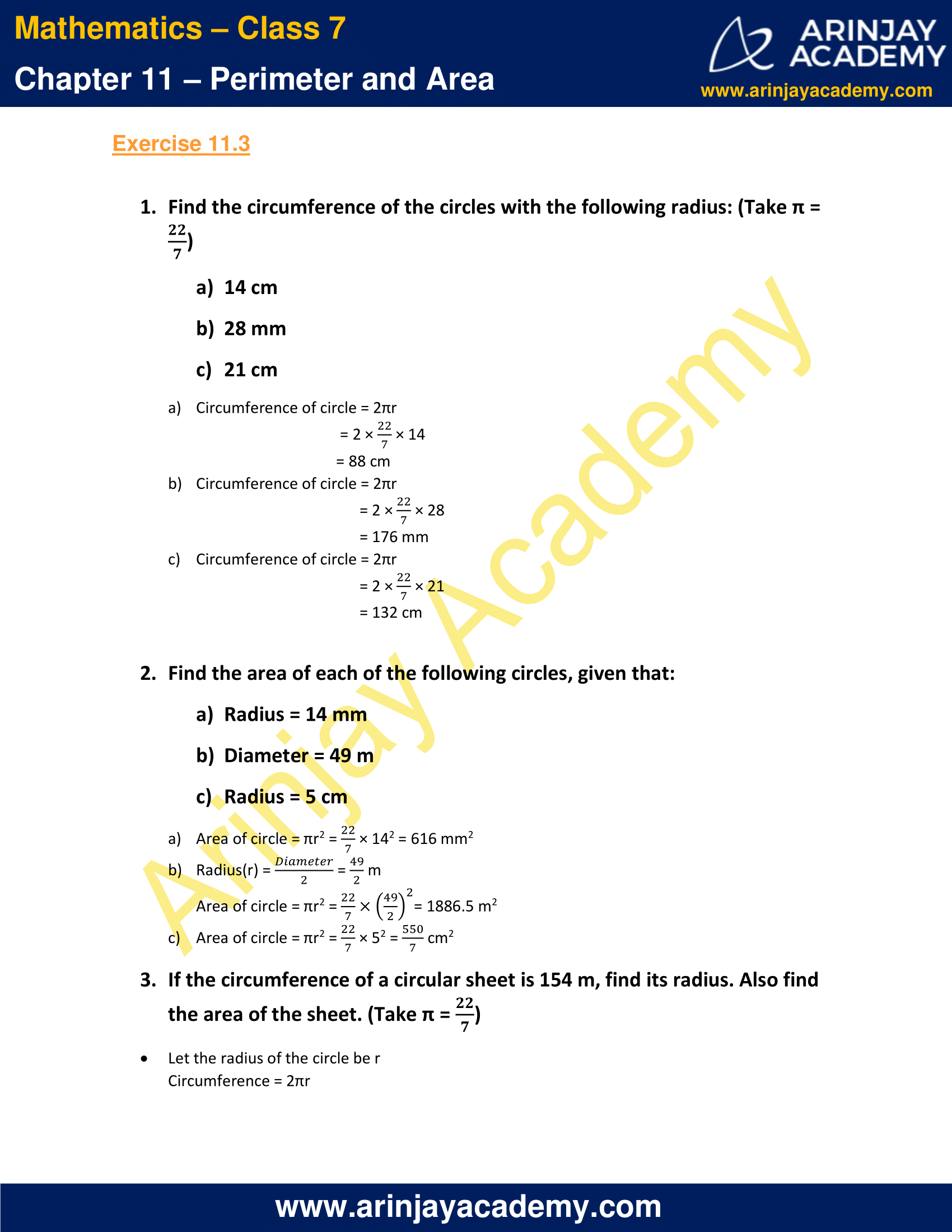 NCERT Solutions for Class 7 Maths Chapter 11 Exercise 11.3 image 1