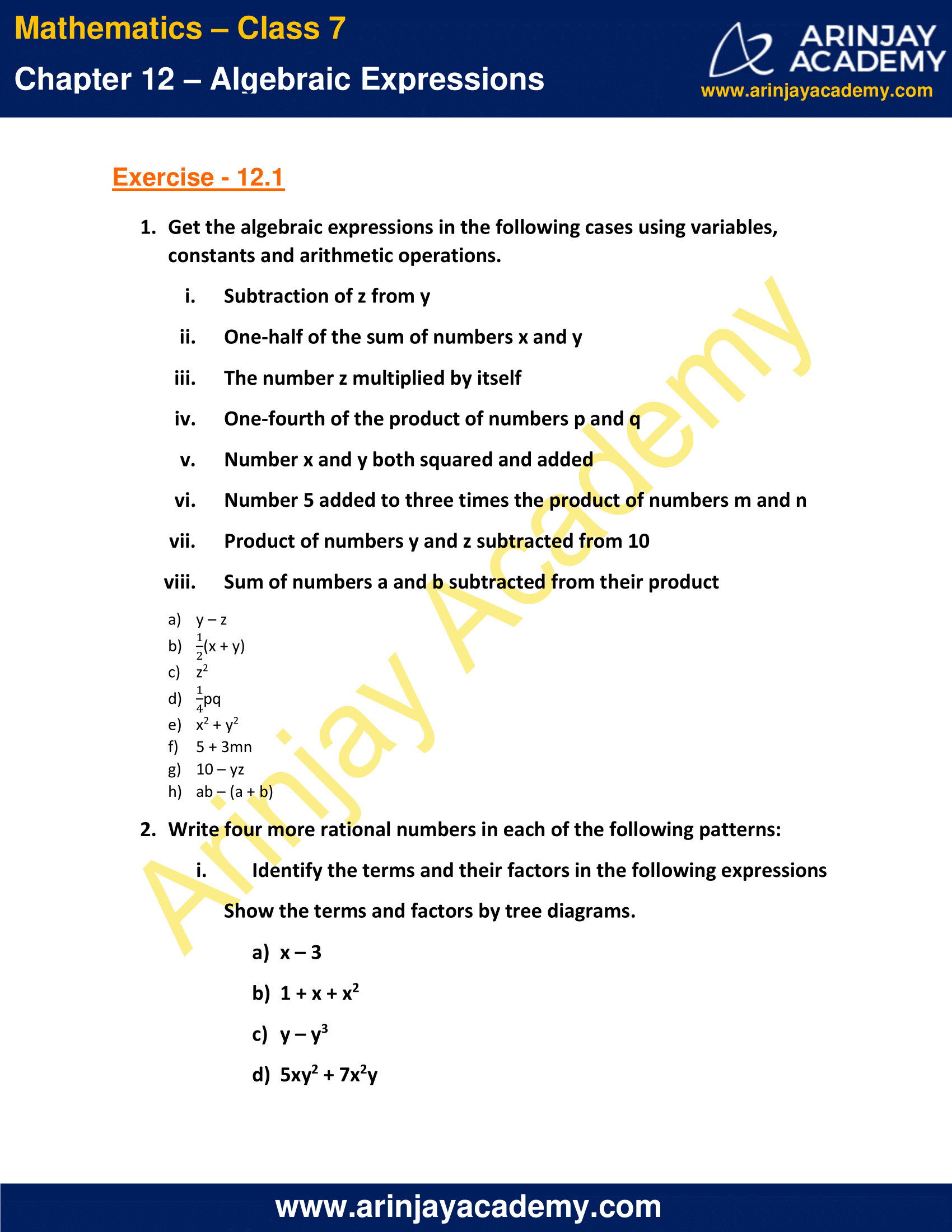 NCERT Solutions for Class 7 Maths Chapter 12 Exercise 12.1 image 1