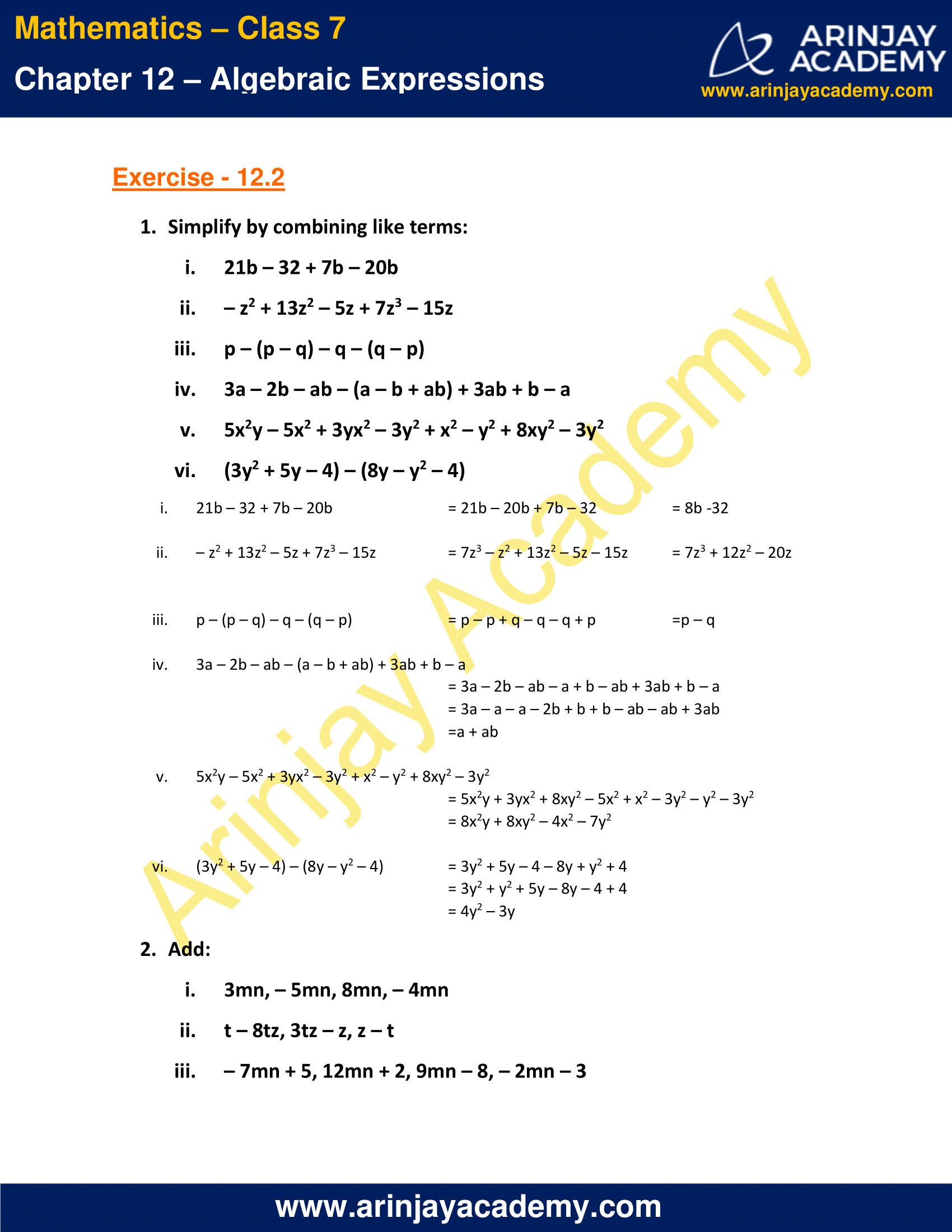 NCERT Solutions for Class 7 Maths Chapter 12 Exercise 12.2 image 1