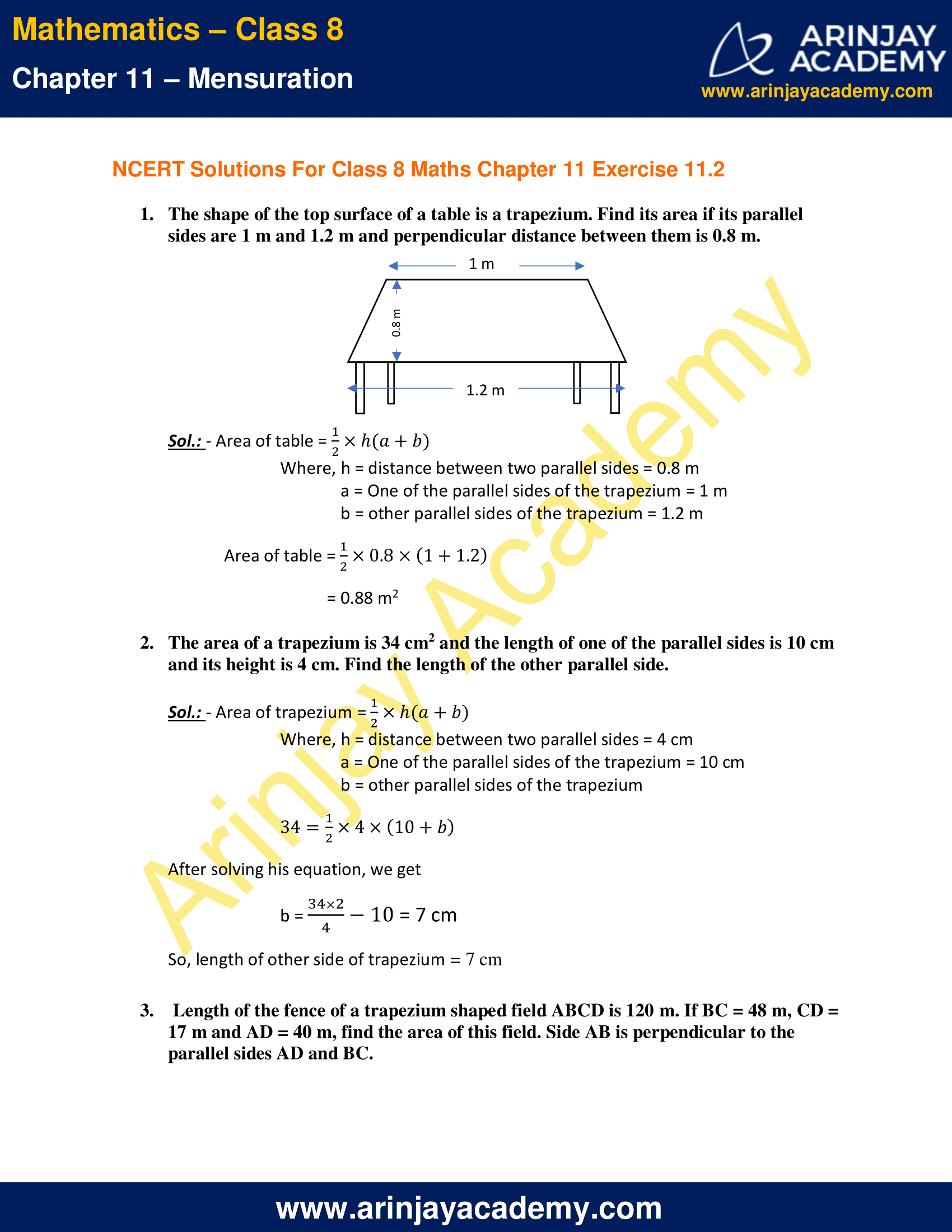 NCERT Solutions for Class 8 Maths Chapter 11 Exercise 11.2 image 1