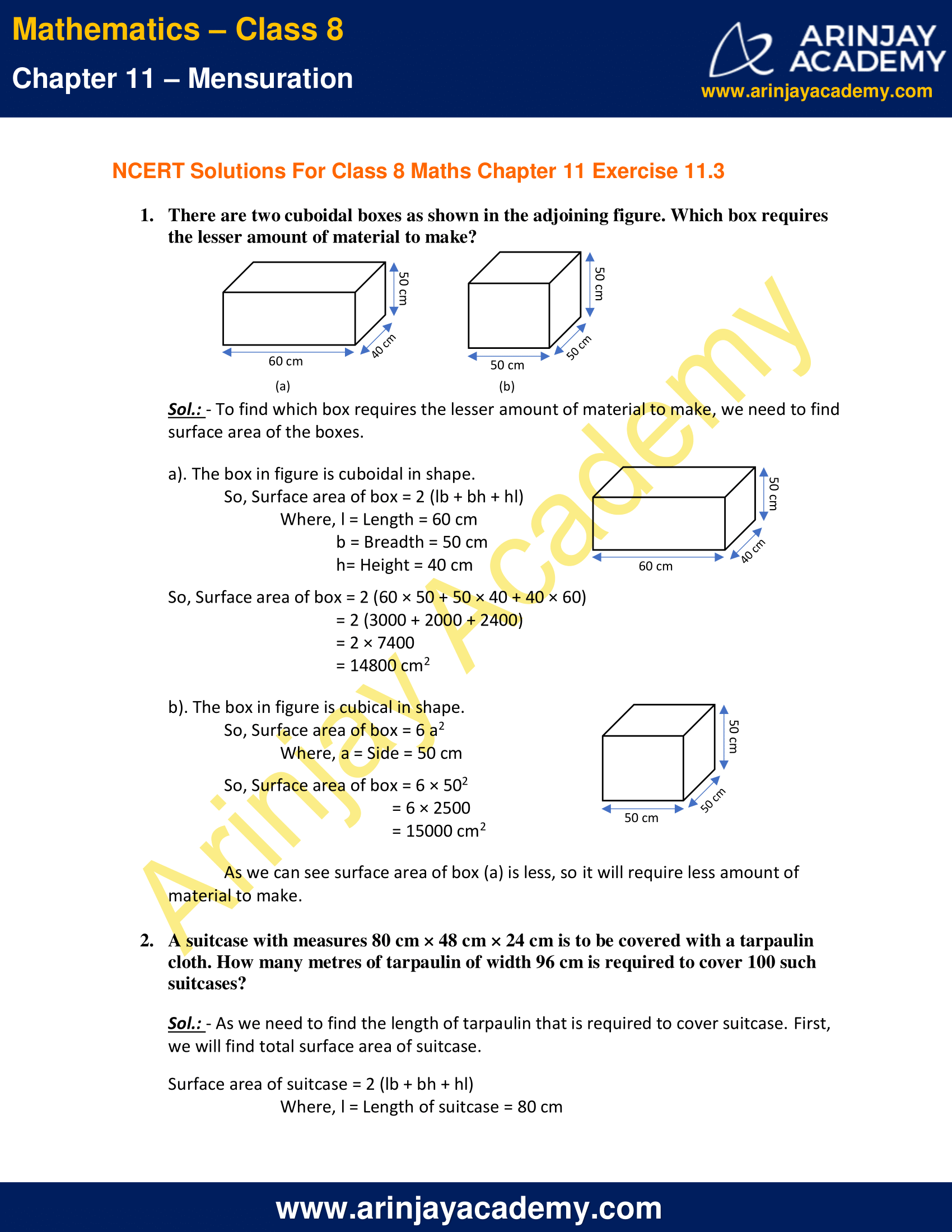 NCERT Solutions for Class 8 Maths Chapter 11 Exercise 11.3 image 1